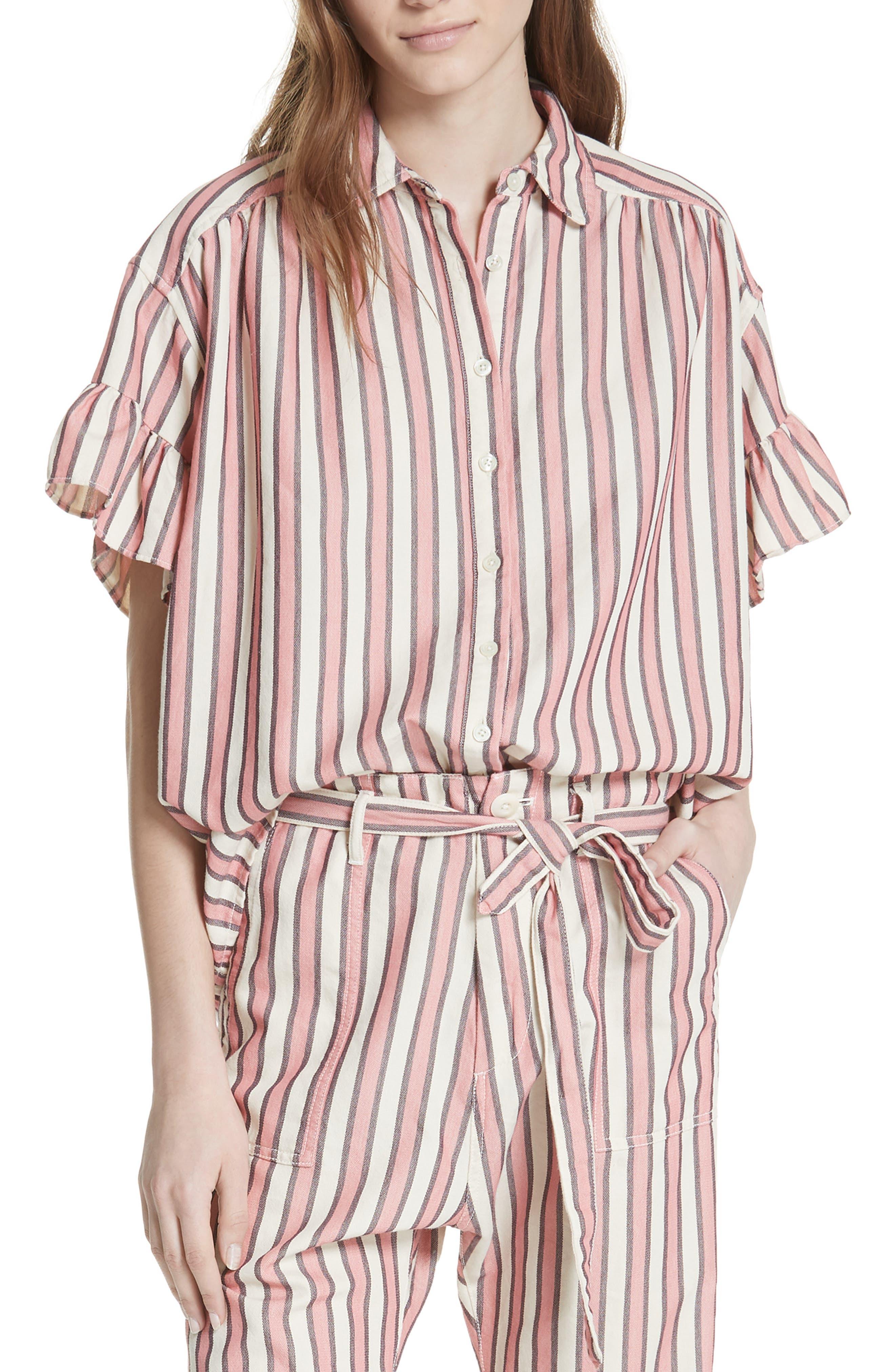Flutter Sleeve Stripe Shirt,                             Main thumbnail 1, color,                             Pink Taffy Stripe