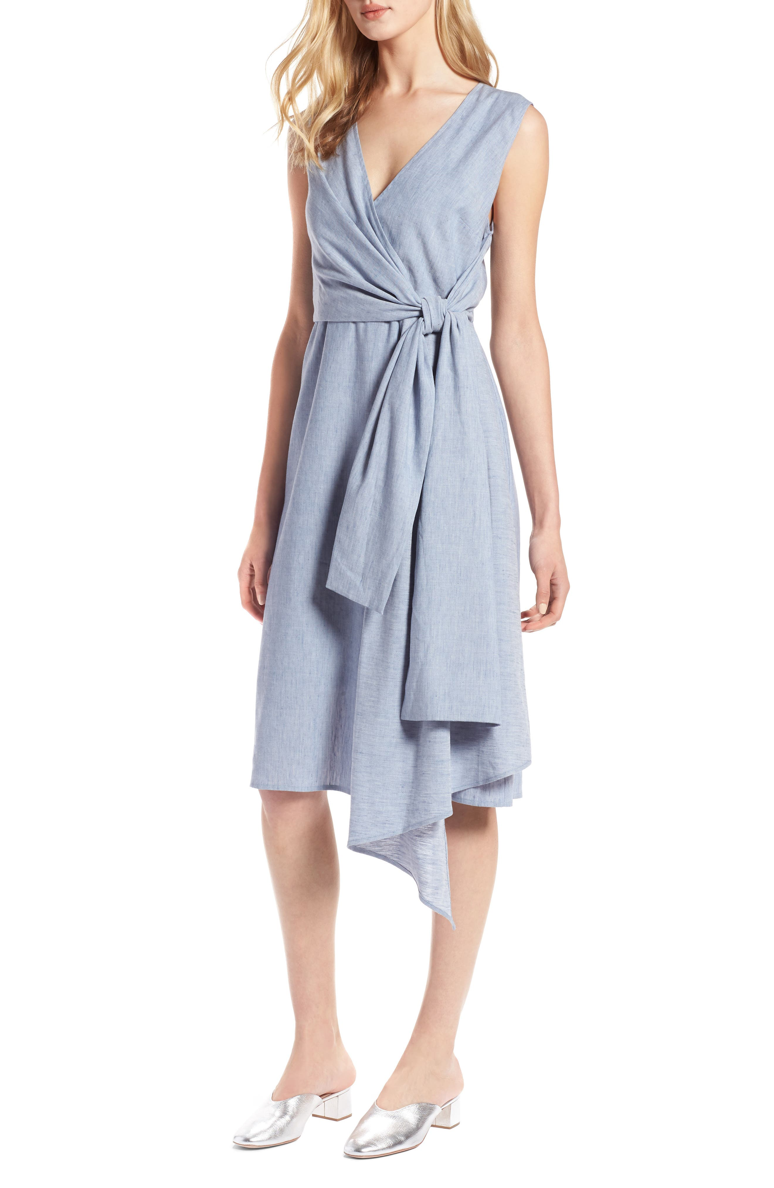 Tie Front Chambray Linen Blend Dress,                             Main thumbnail 1, color,                             Chambray