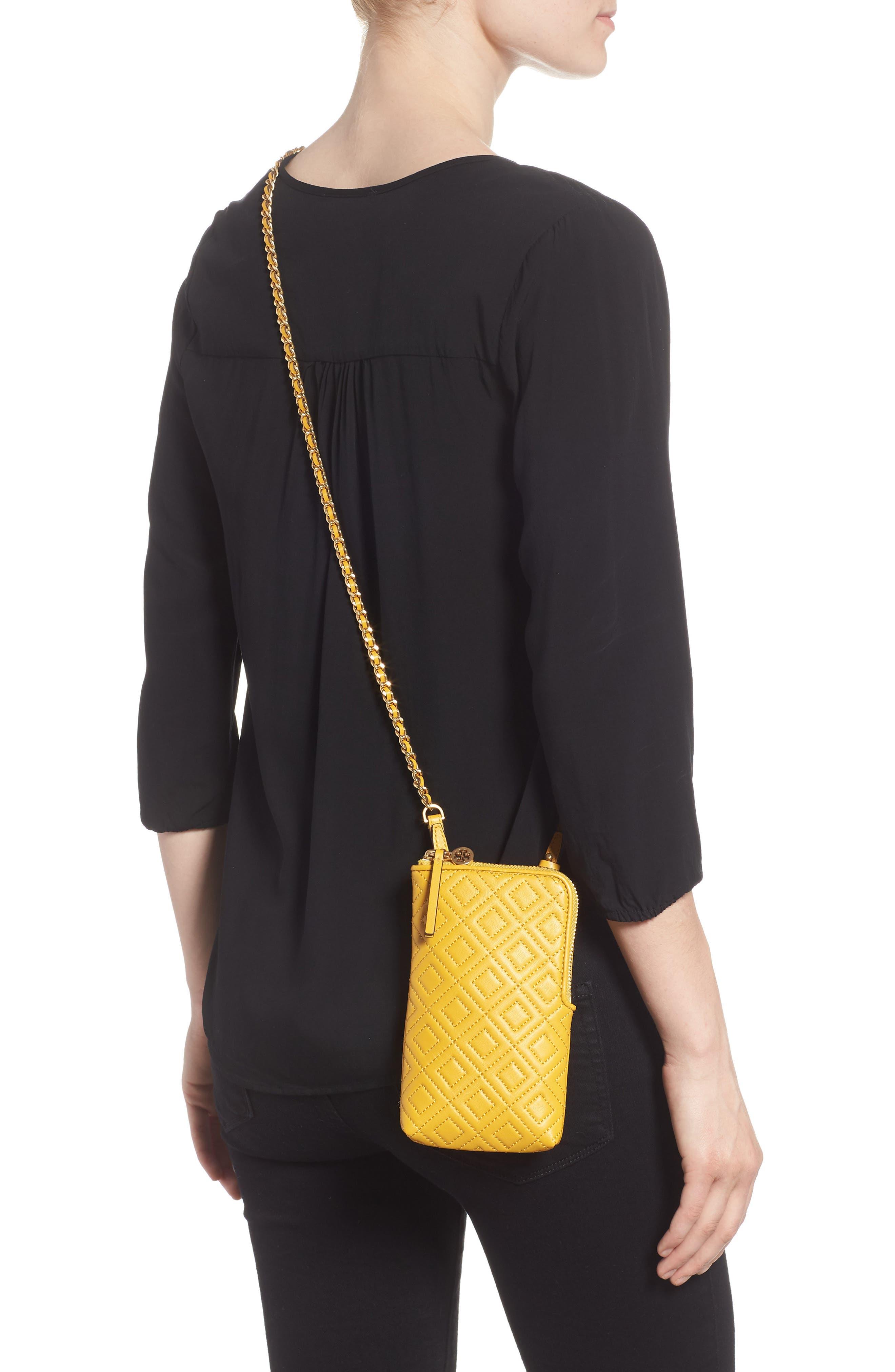Fleming Lambskin Leather Phone Crossbody Bag,                             Alternate thumbnail 2, color,                             Daylily