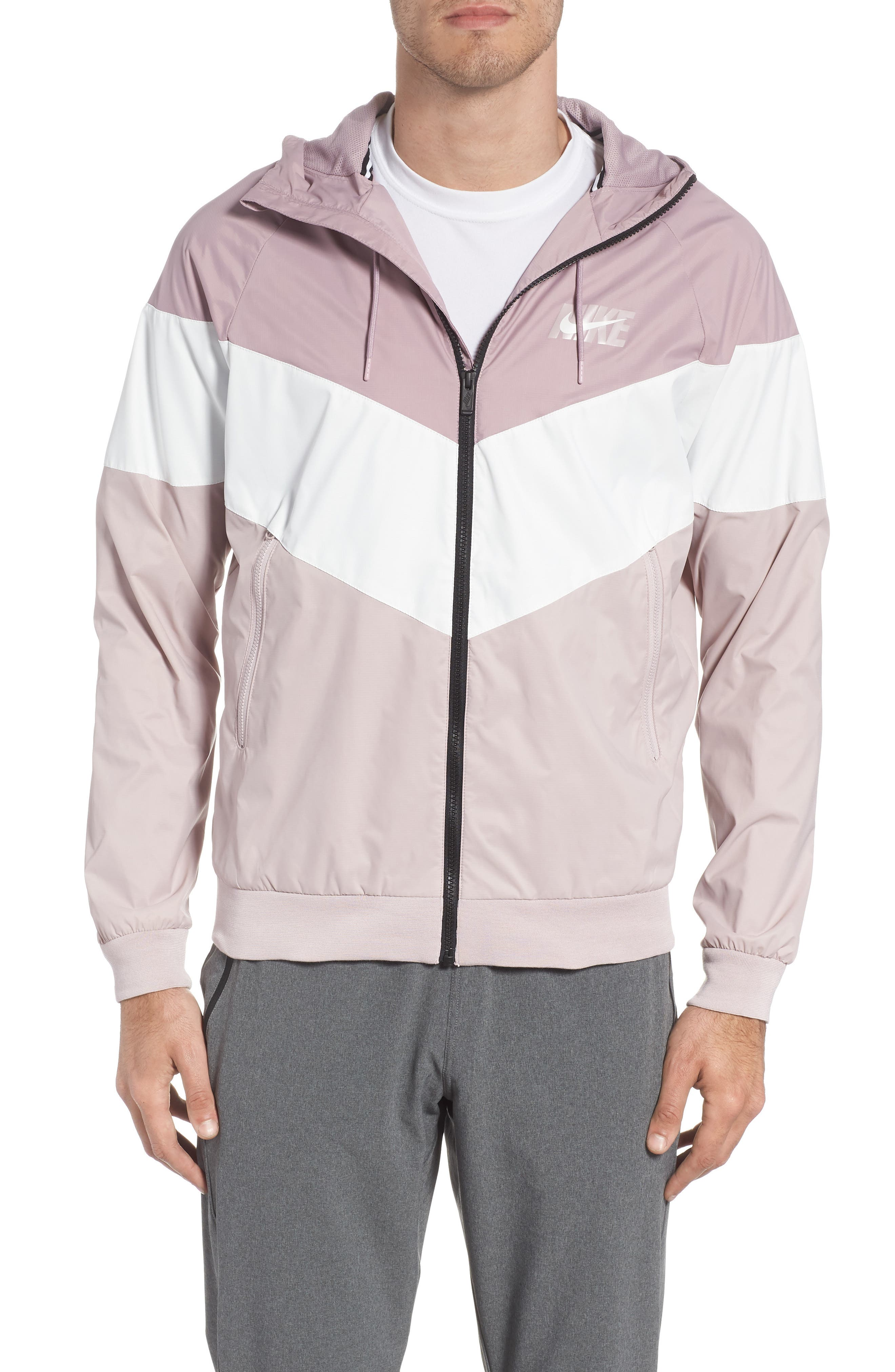 Windrunner Wind & Water Repellent Hooded Jacket,                         Main,                         color, Elemental Rose/ Summit White