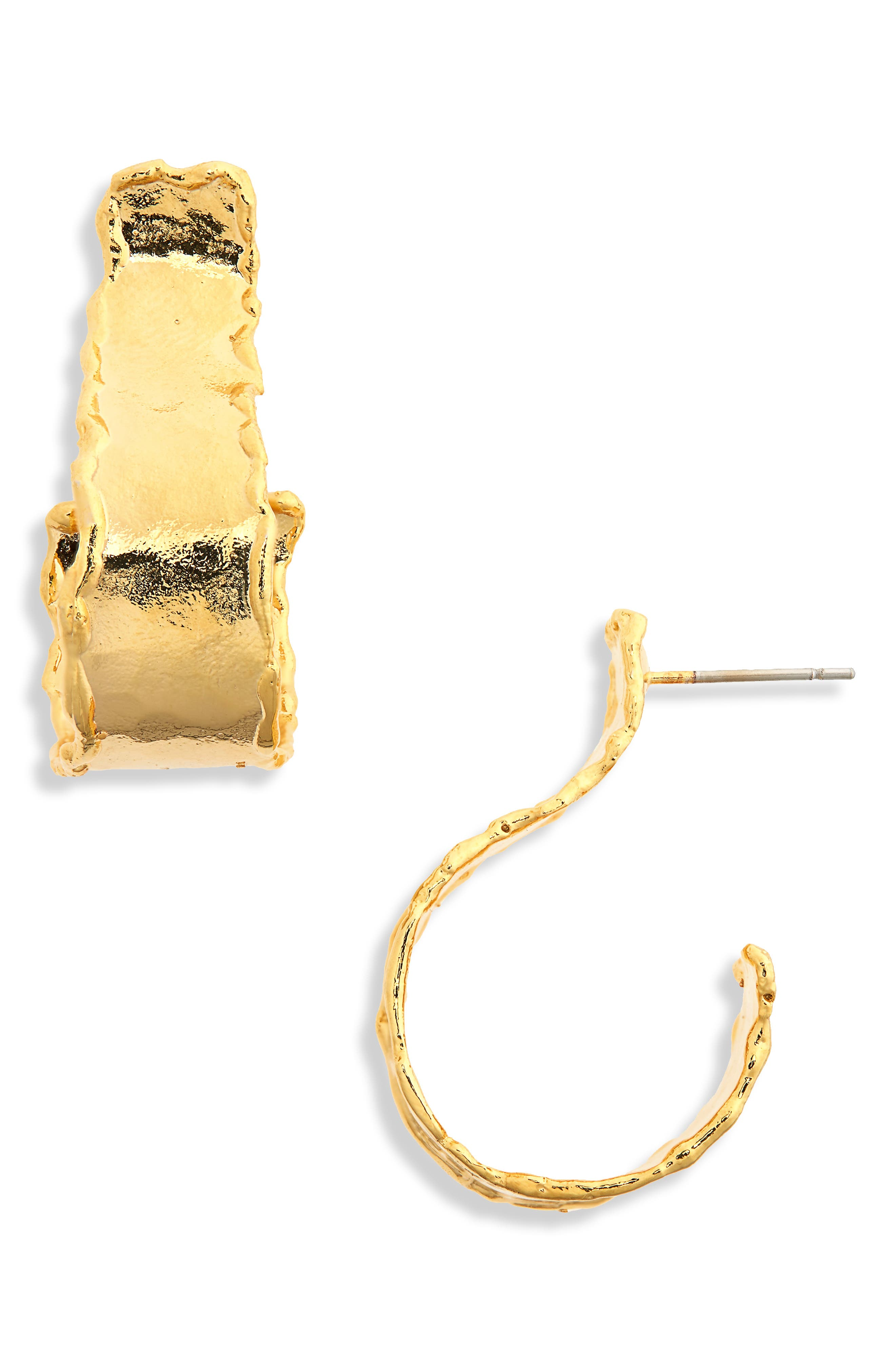 Nocturnal Flare Hoop Earrings,                             Main thumbnail 1, color,                             Gold