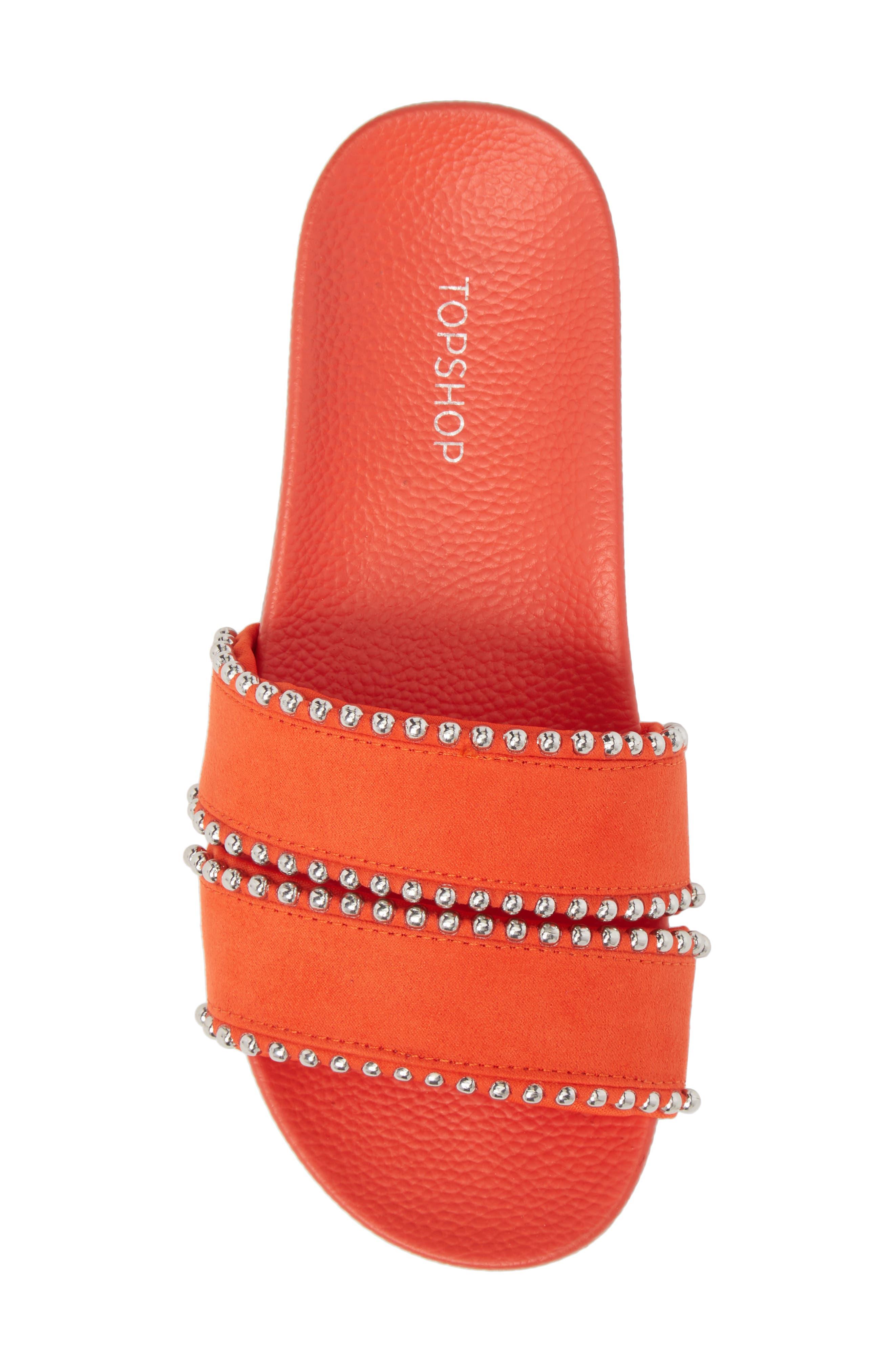Rascal Studded Slide Sandal,                             Alternate thumbnail 5, color,                             Red