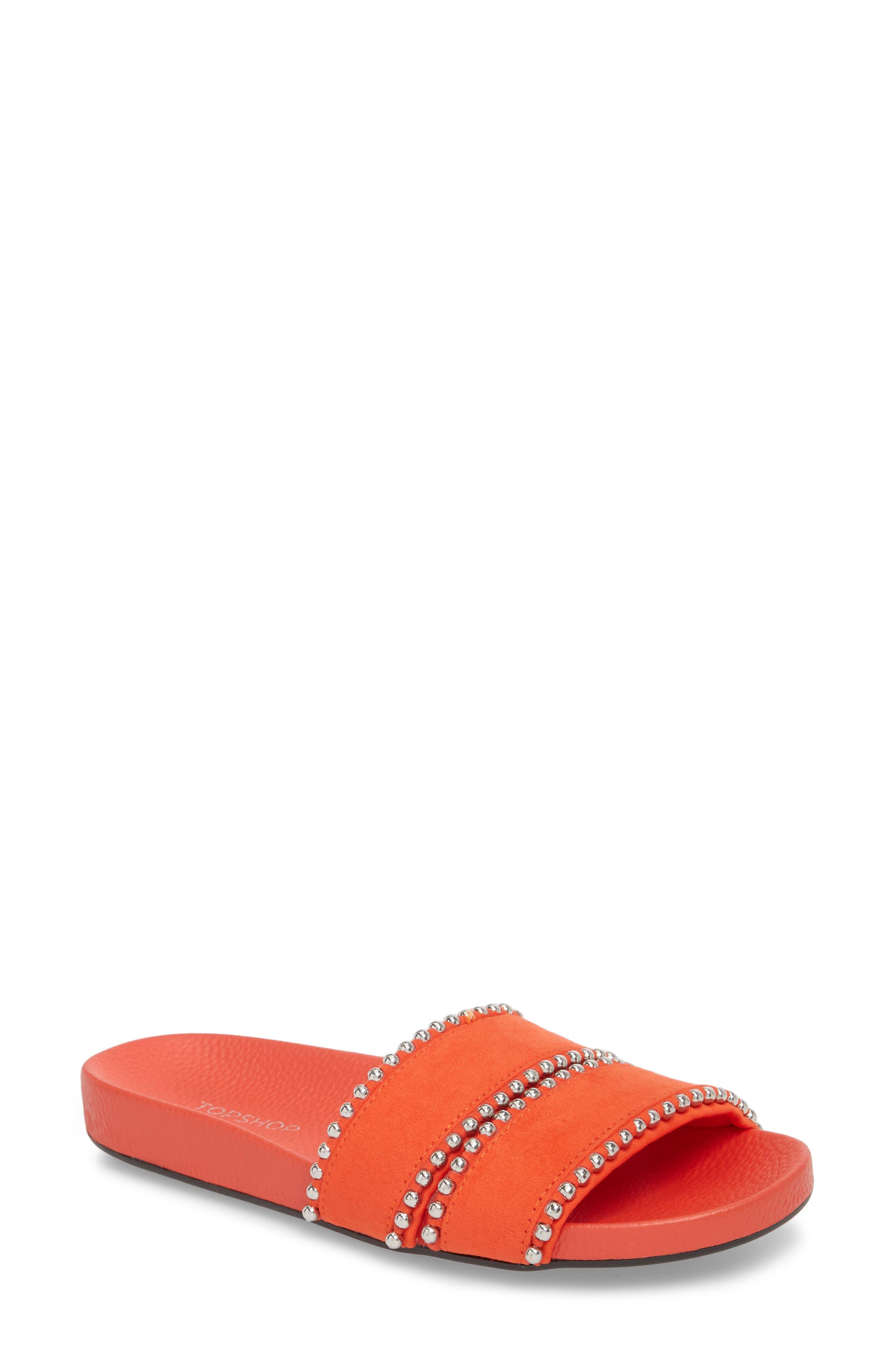 Rascal Studded Slide Sandal,                             Main thumbnail 1, color,                             Red