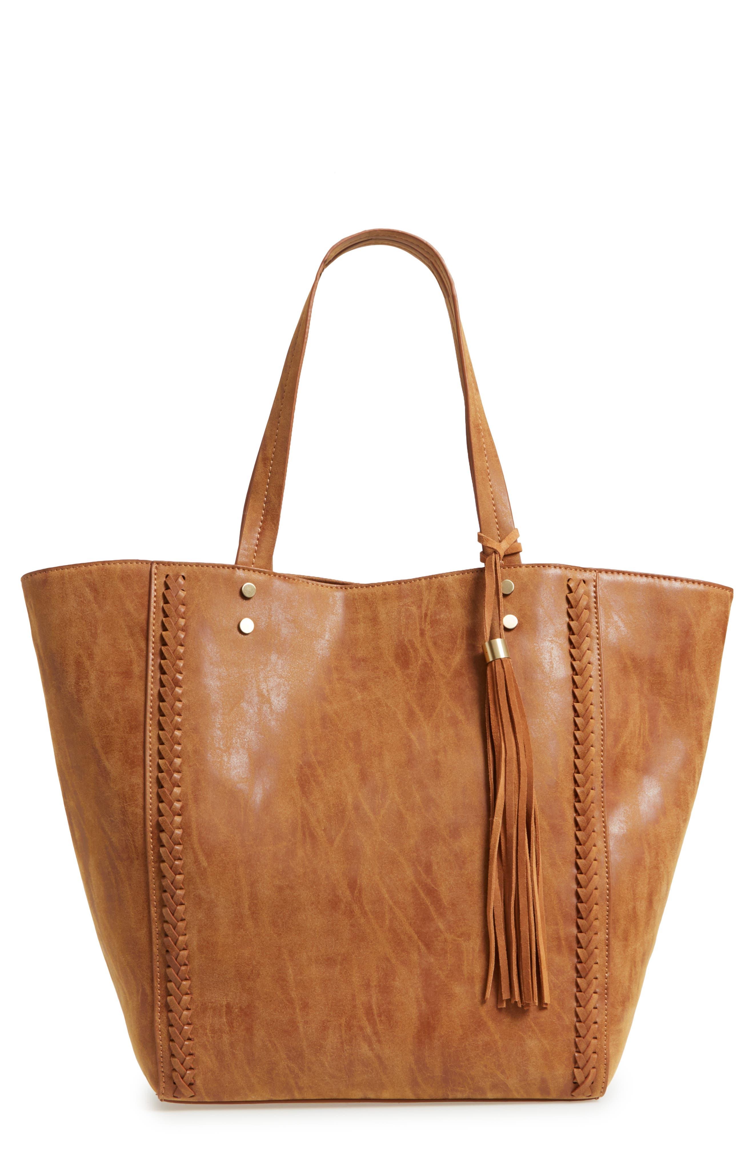 Penny Faux Leather Tote,                         Main,                         color, Cognac