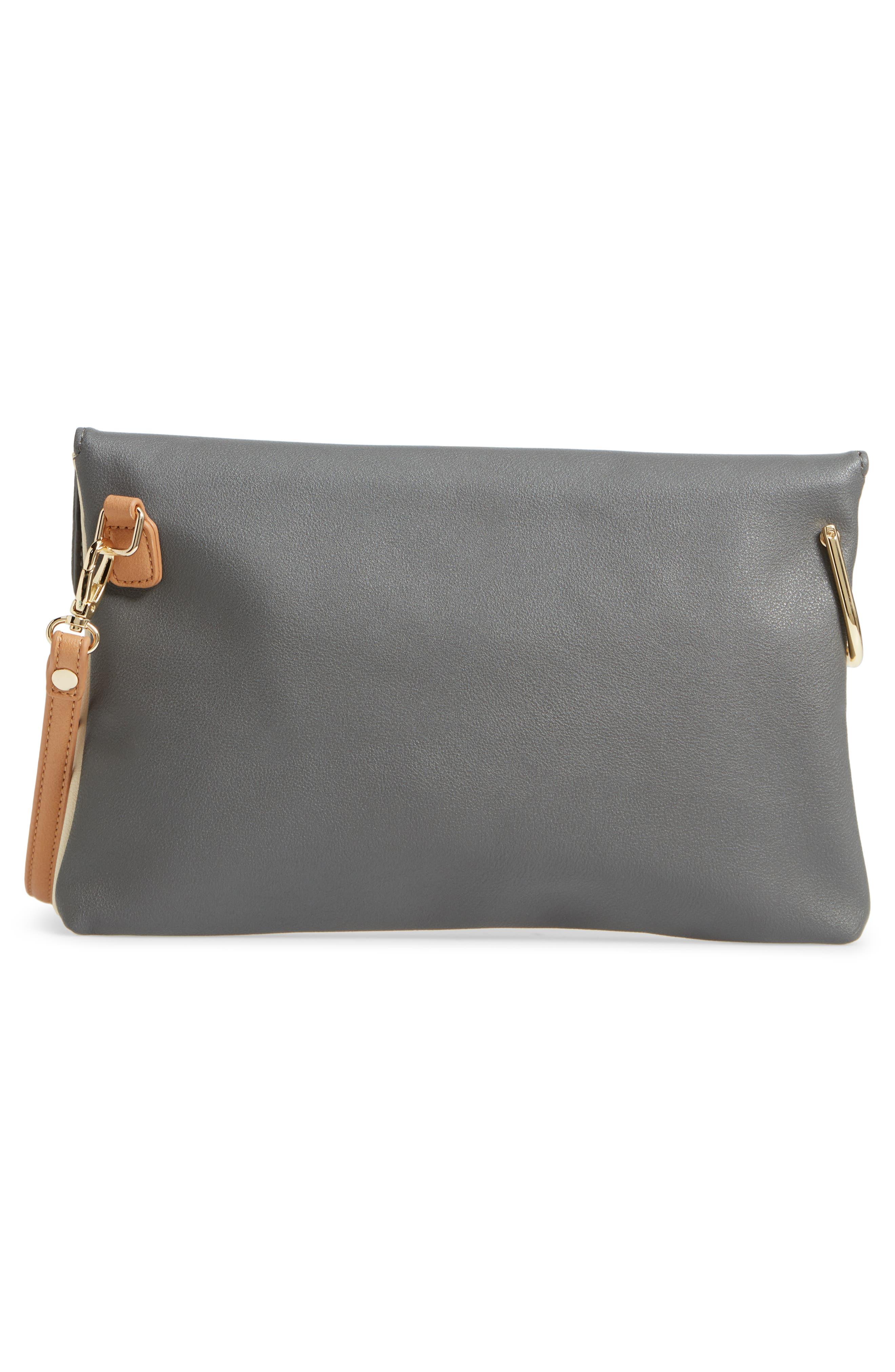 Shea Tricolor Faux Leather Clutch,                             Alternate thumbnail 3, color,                             Grey Multi