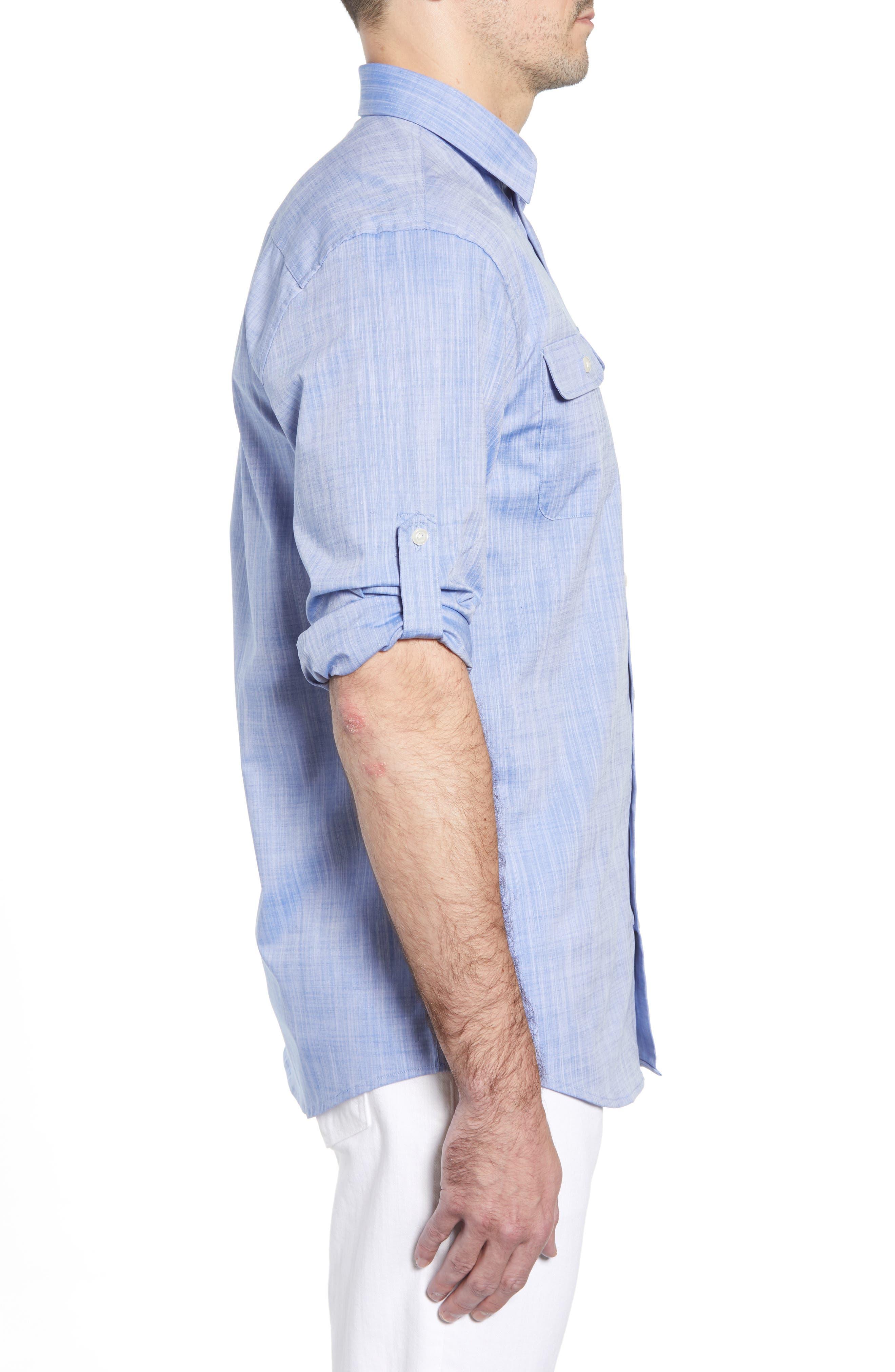Hutton Classic Fit Shirt,                             Alternate thumbnail 4, color,                             Deep Water