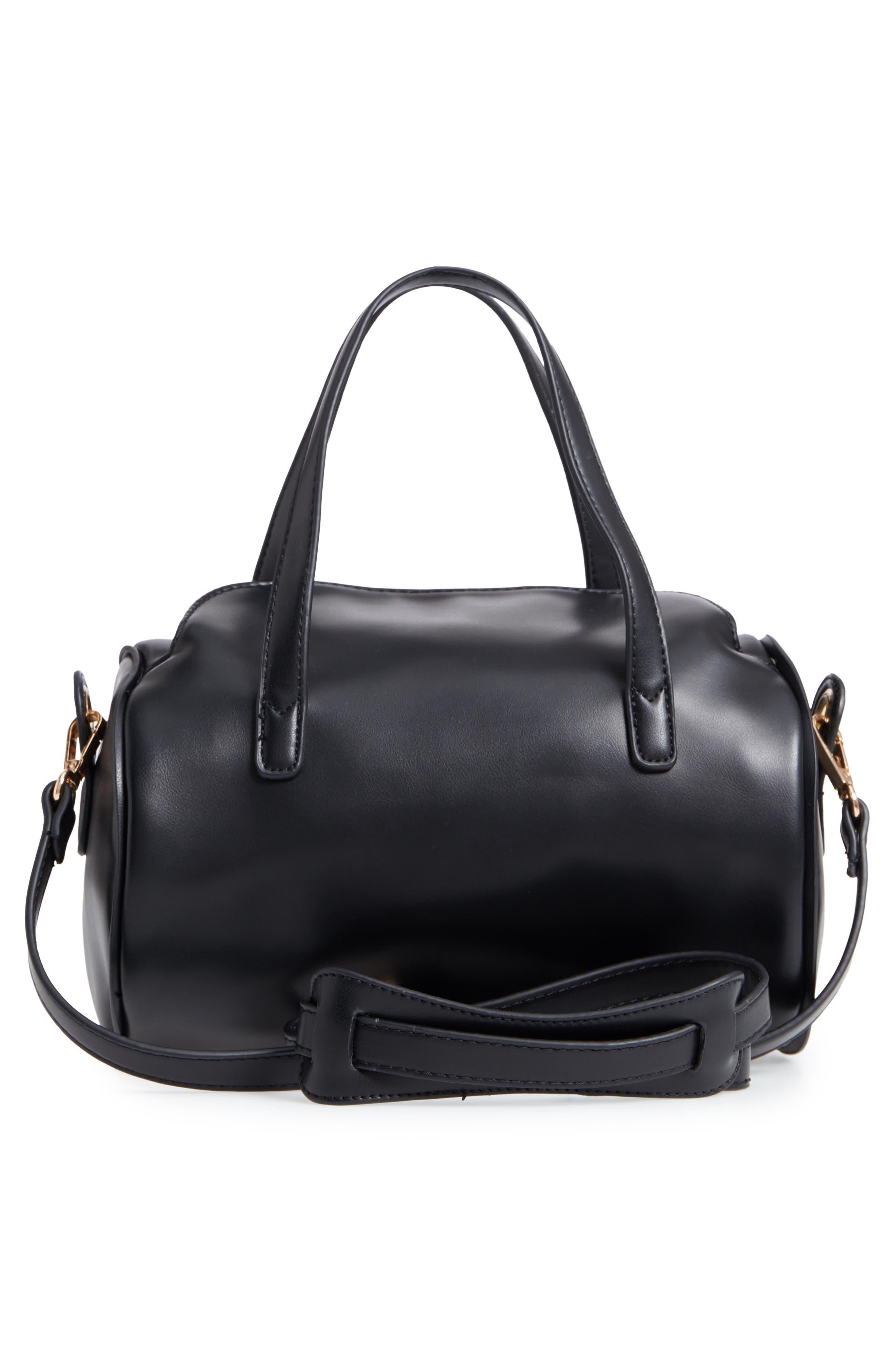 Aliza Faux Leather Satchel,                             Alternate thumbnail 4, color,                             Black