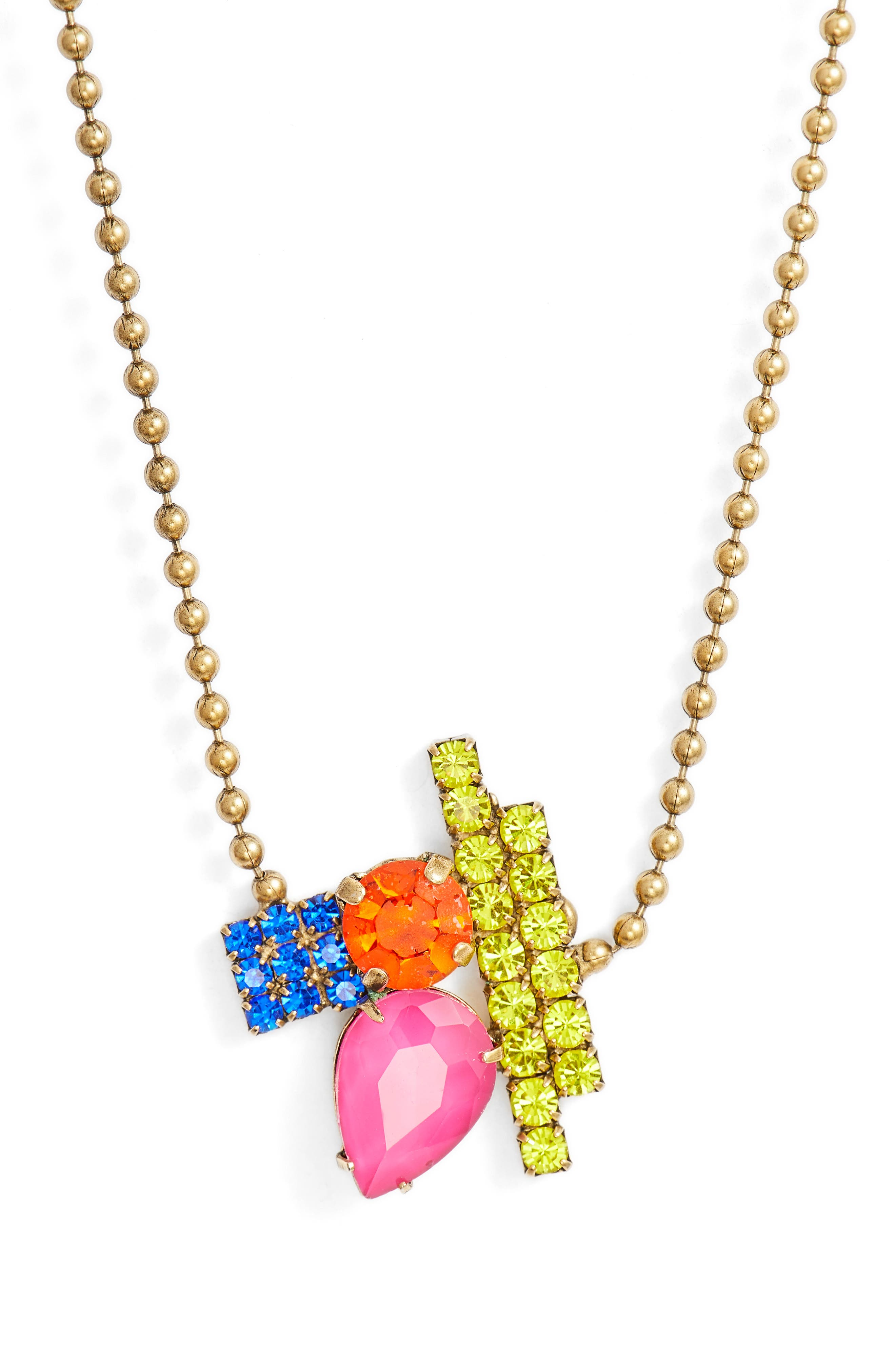 Avery Ball Chain Necklace,                         Main,                         color, Gold Multi