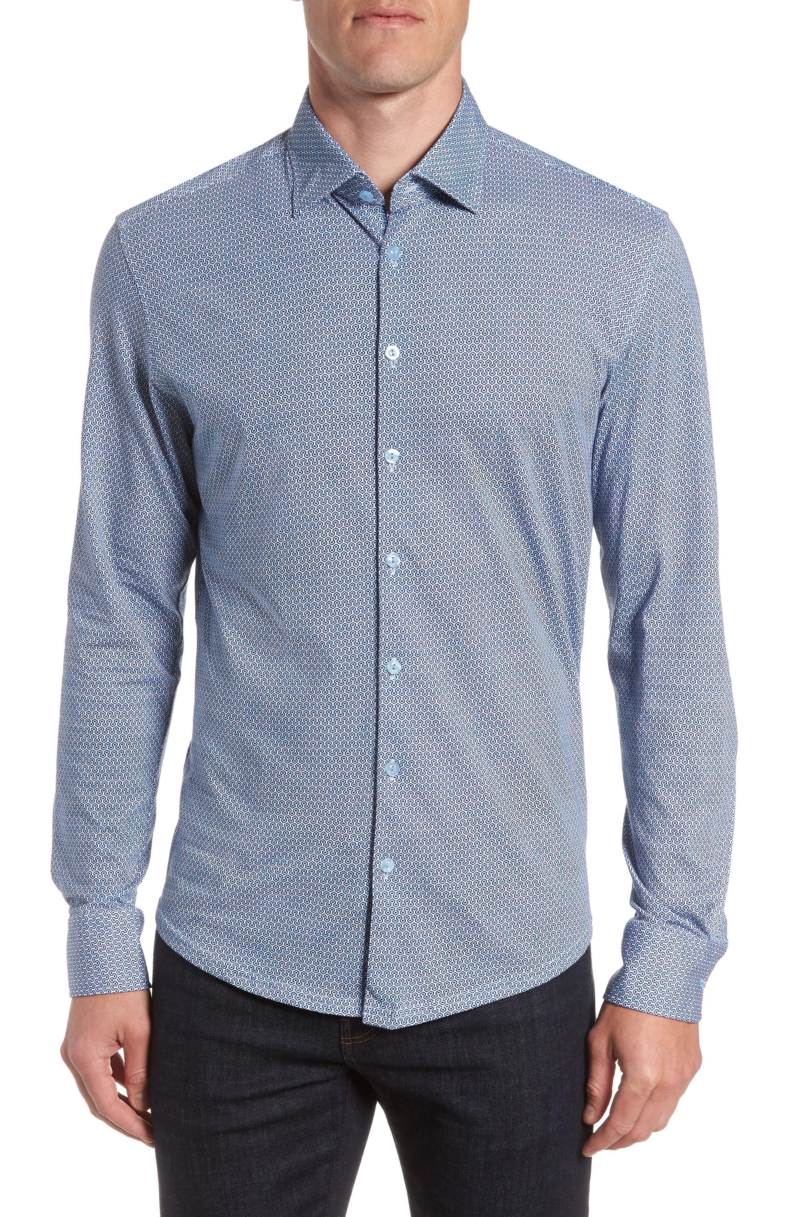 Honeycomb Print Knit Sport Shirt,                         Main,                         color, Blue