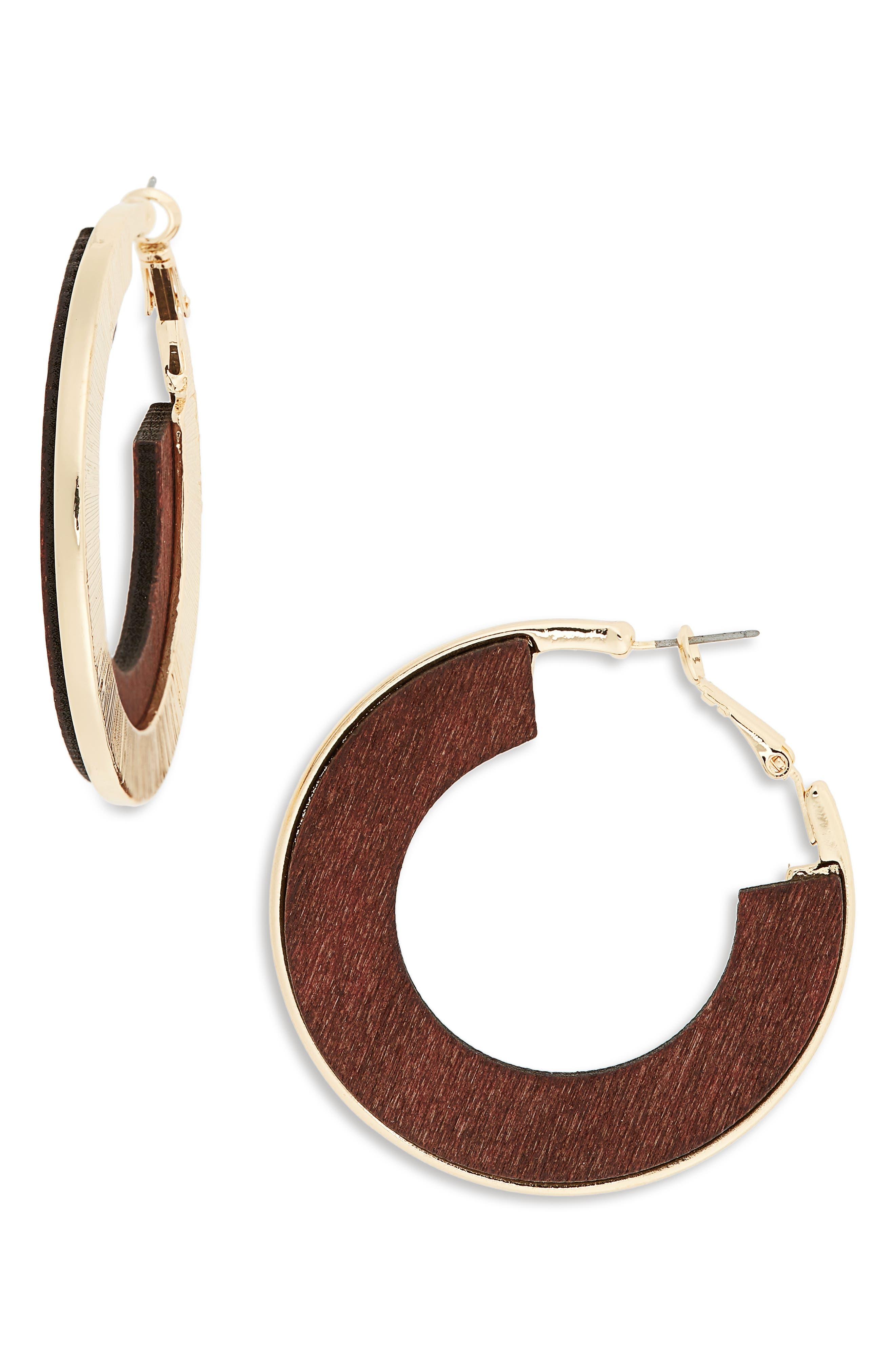 Flat Wood Hoop Earrings,                         Main,                         color, Gold/ Brown