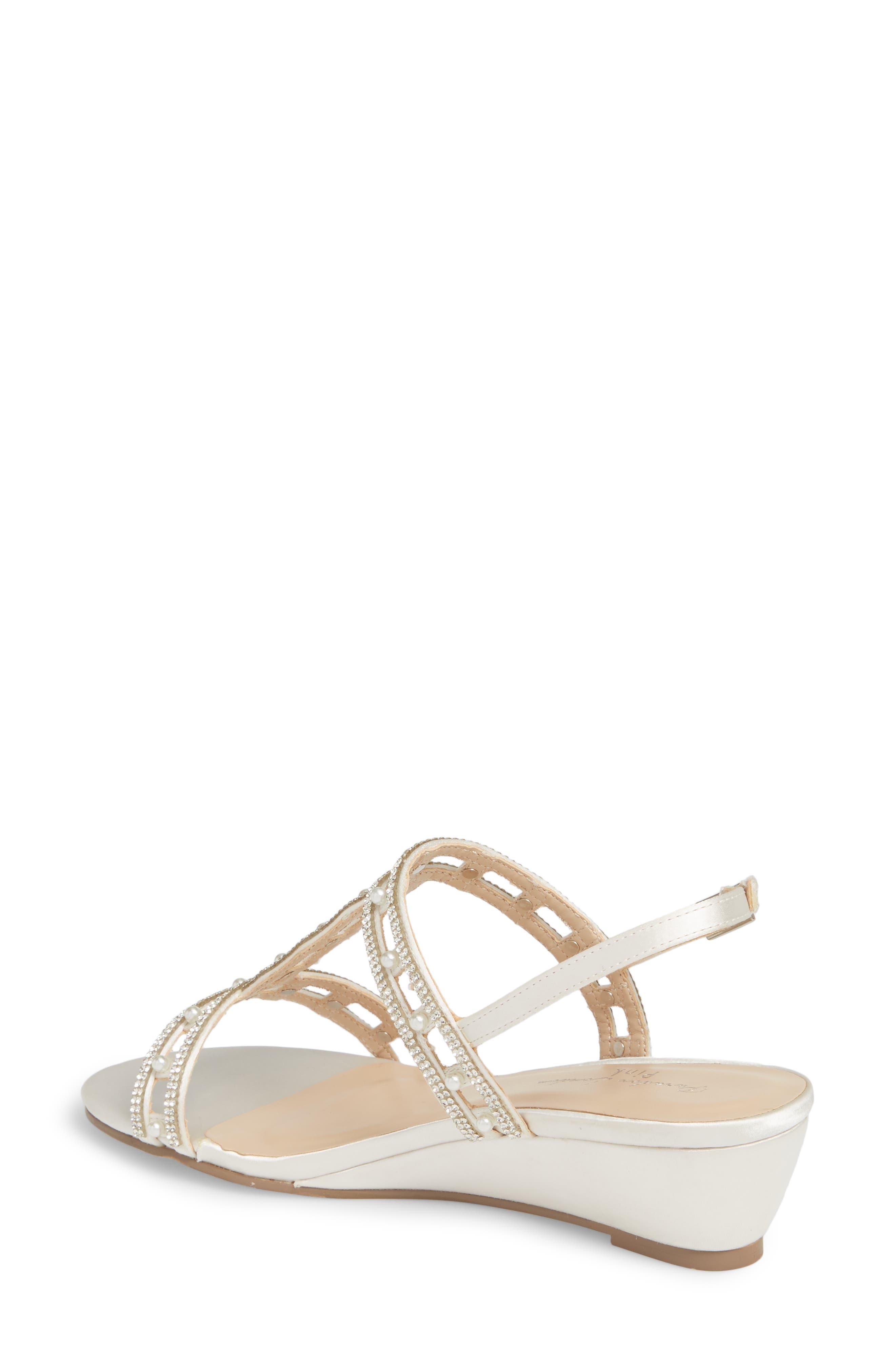 Kamara Embellished Wedge Sandal,                             Alternate thumbnail 2, color,                             Ivory Satin