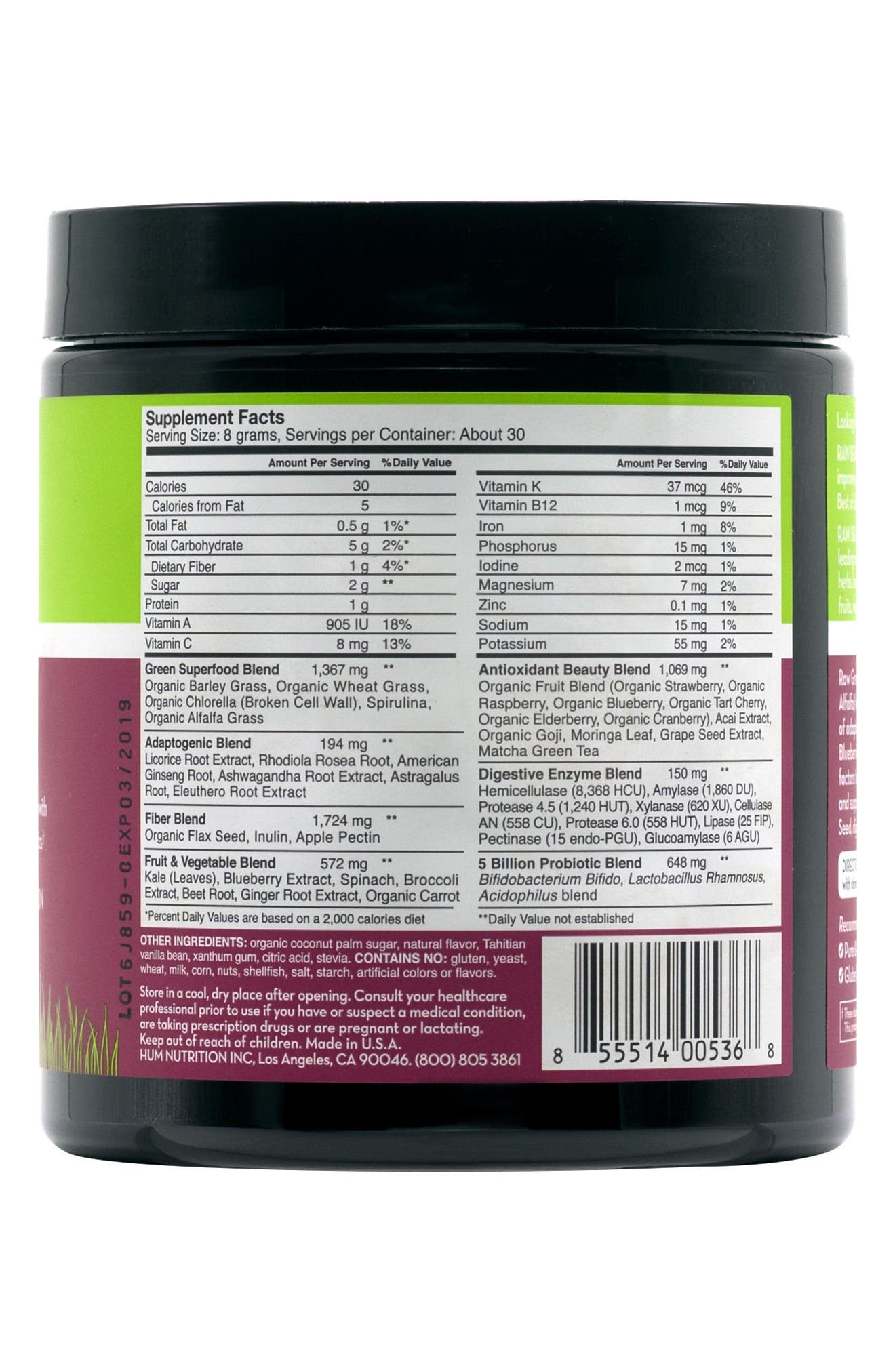 Raw Beauty Tahitian Vanilla & Berry Infusion Skin & Energy Green Superfood Powder,                             Alternate thumbnail 3, color,                             No Color