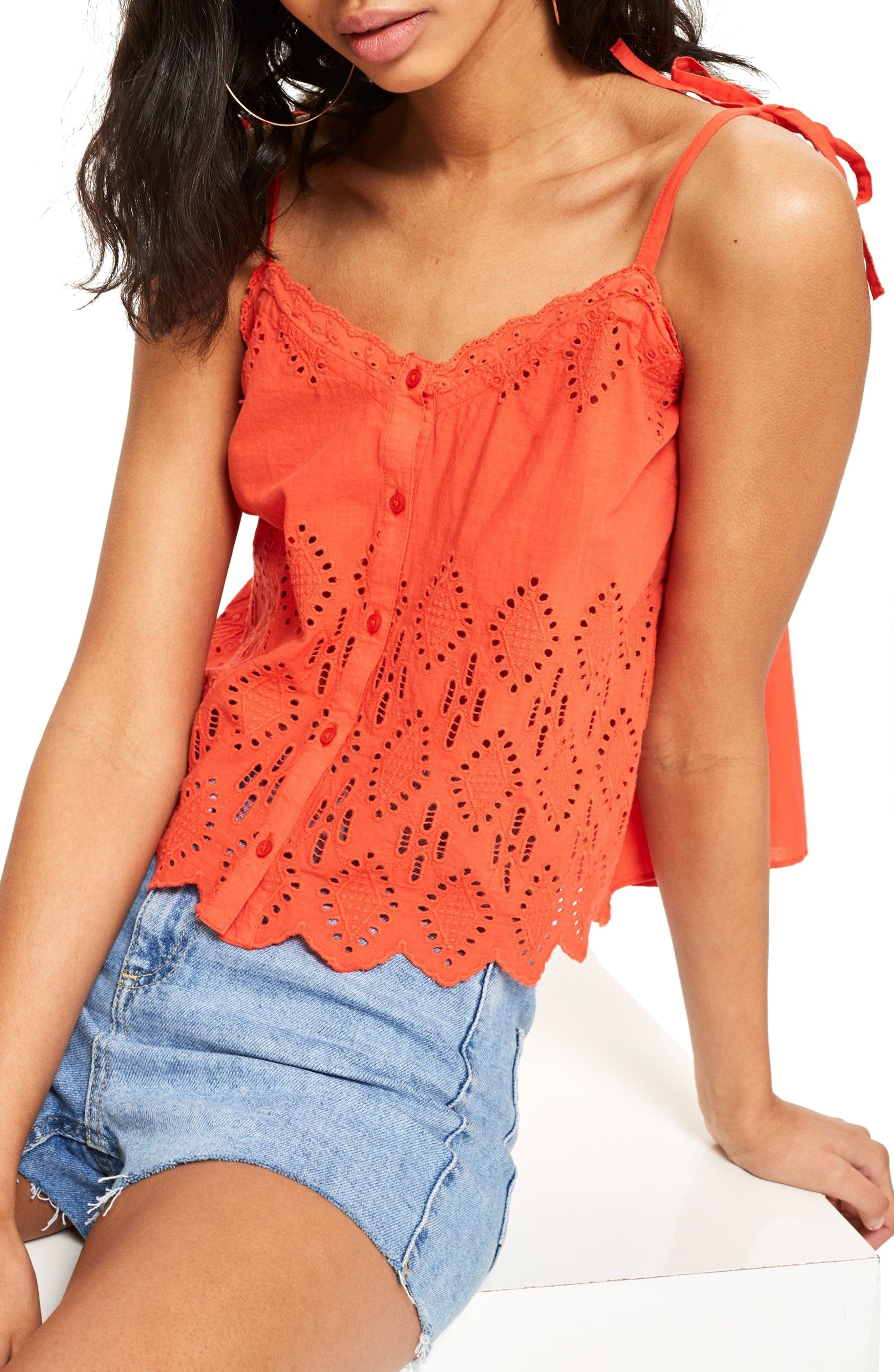 Broderie Camisole Top,                             Main thumbnail 1, color,                             Coral