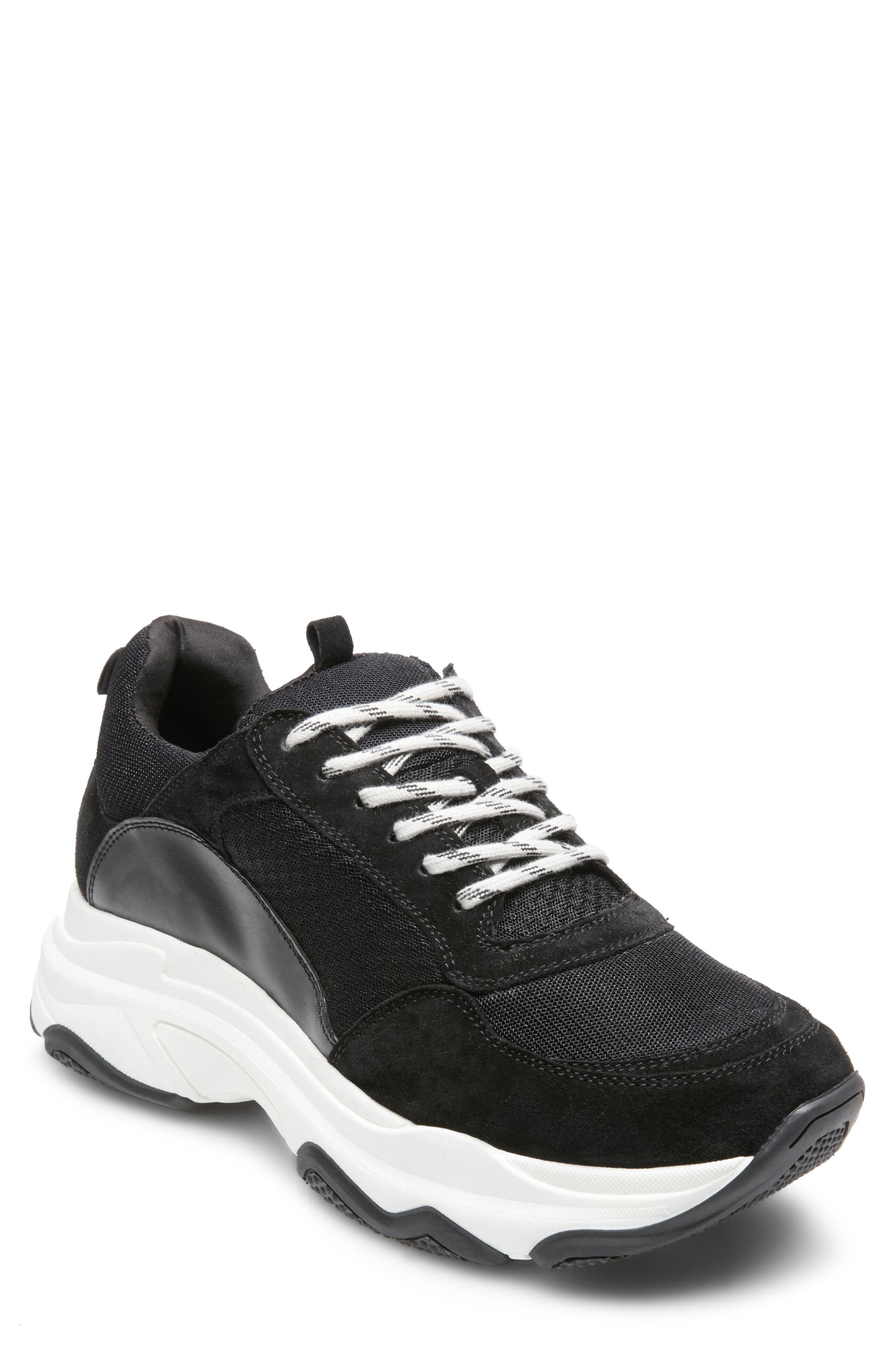 Russell Platform Sneaker,                         Main,                         color, Black Leather
