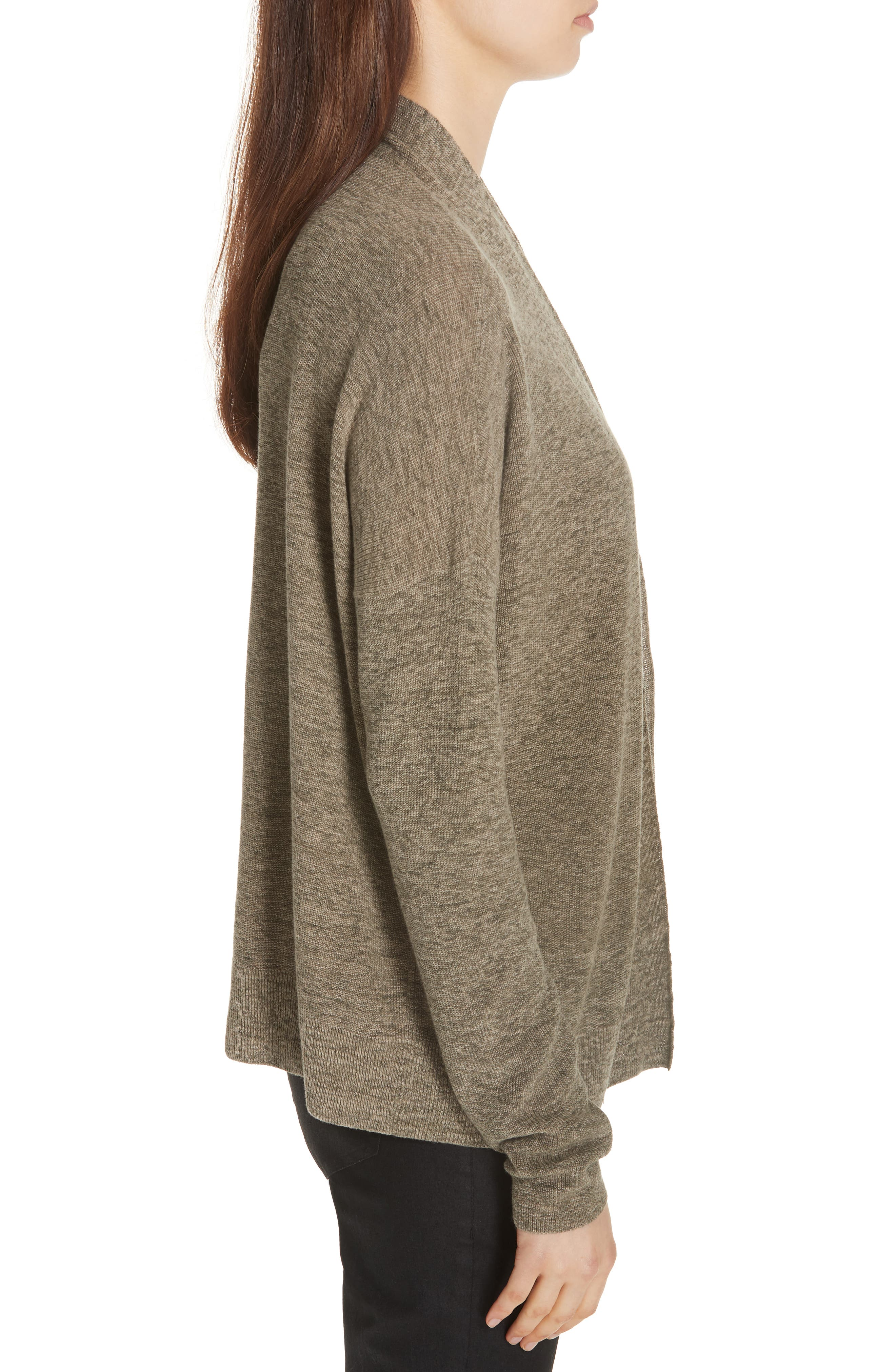 Simple Organic Cotton Cardigan,                             Alternate thumbnail 5, color,                             Olive