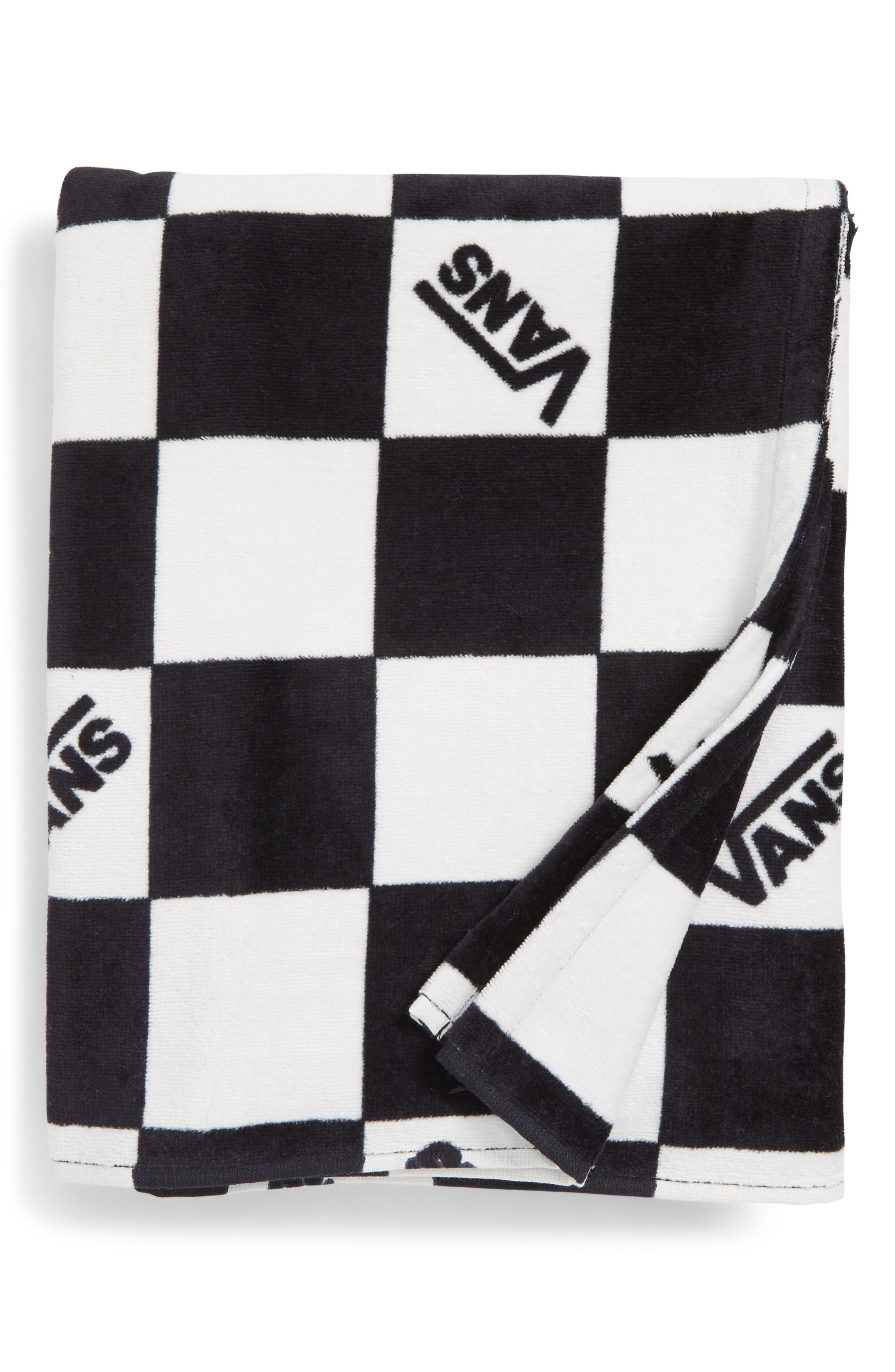 Checkerboard Beach Towel,                         Main,                         color, Black/ White Check