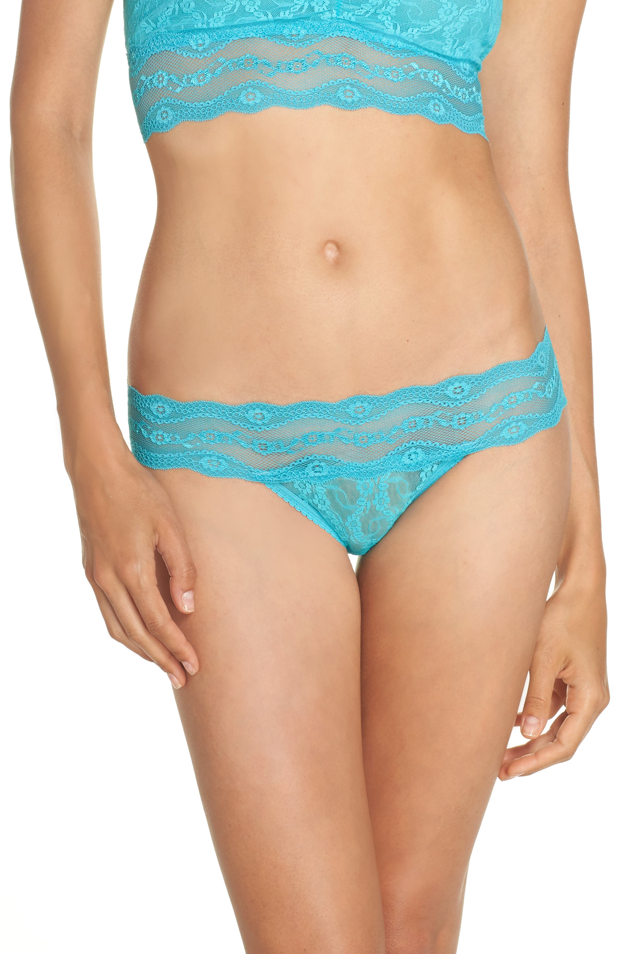 'Lace Kiss' Bikini,                         Main,                         color, Peacock Blue