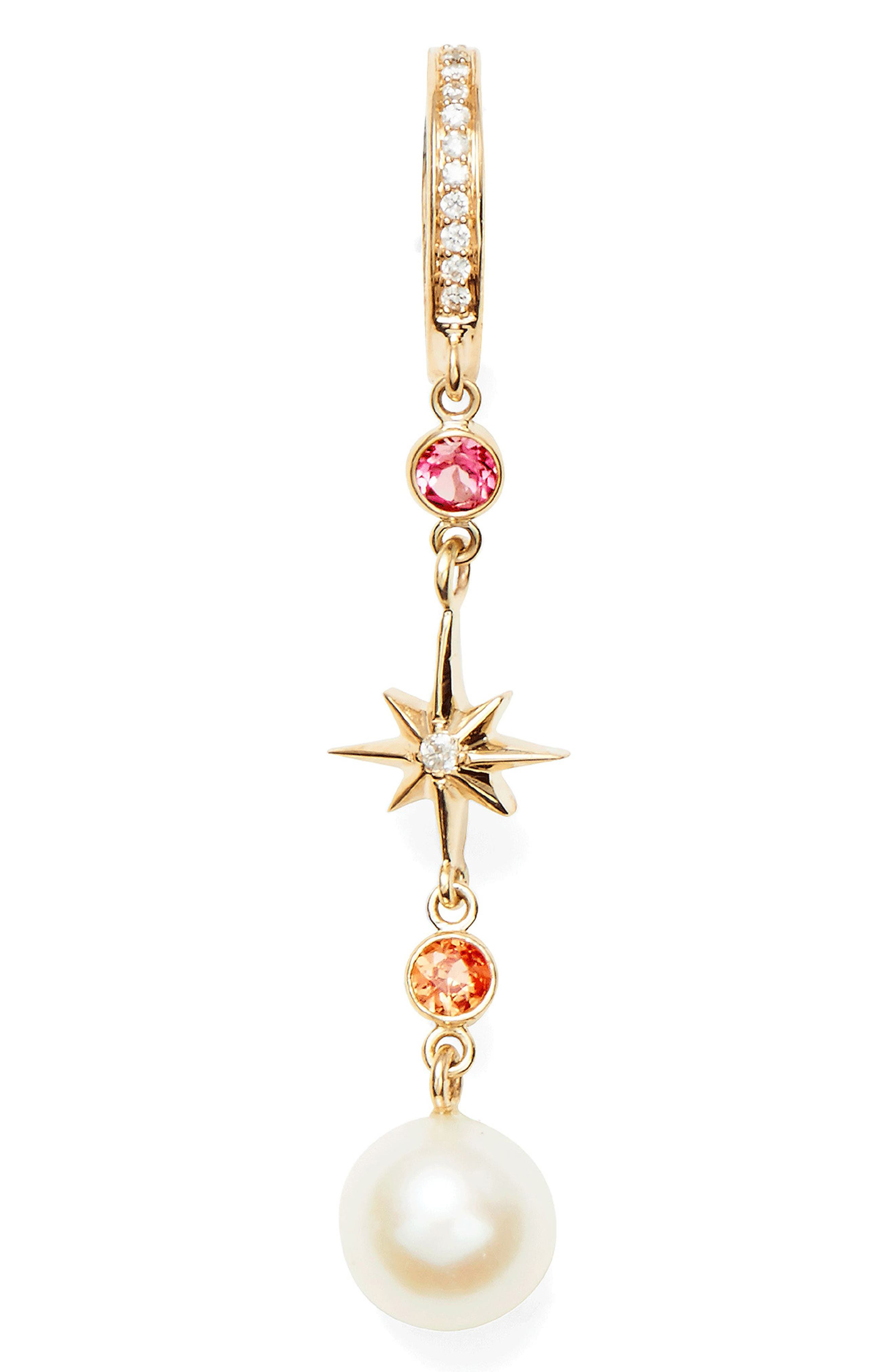 MARLO LAZ Elixir Single Linear Pearl, Diamond & Stone Drop Earring in Yellow Gold