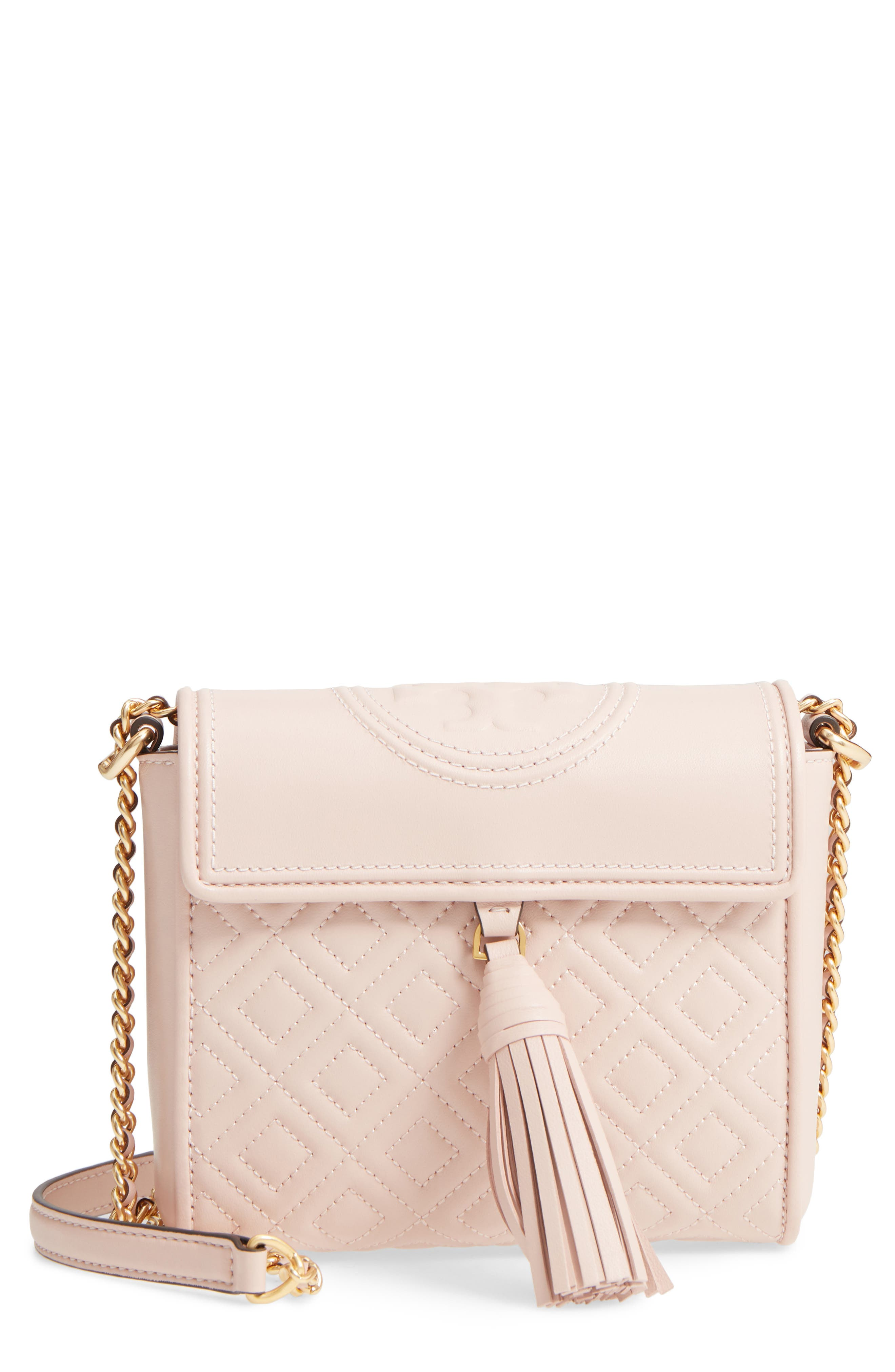 Fleming Quilted Leather Crossbody Bag,                             Main thumbnail 1, color,                             Shell Pink