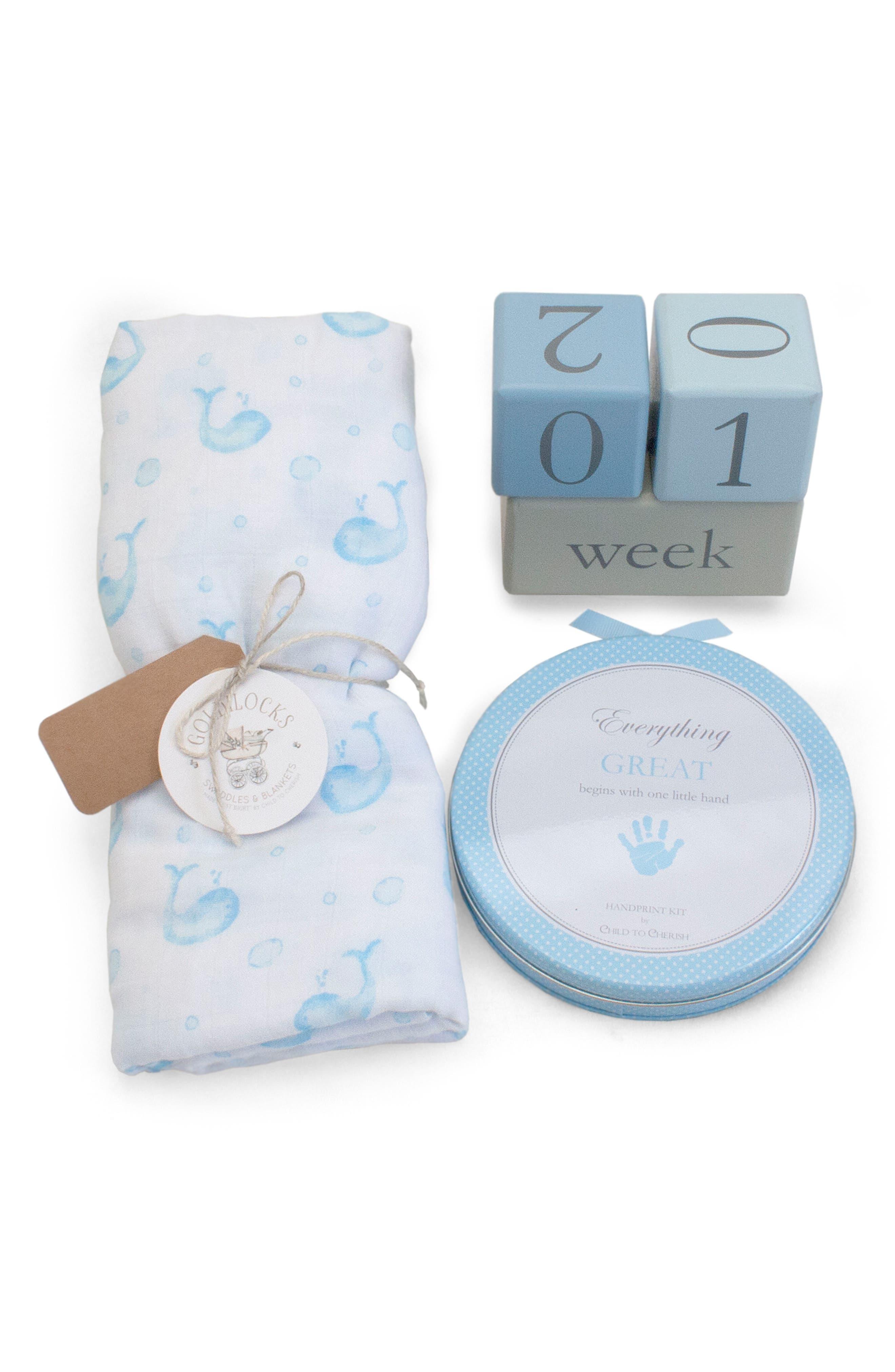 Bubbles & Whales Goldilocks Swaddle, Handprint & Photo Block Gift Set,                         Main,                         color, Blue Whale