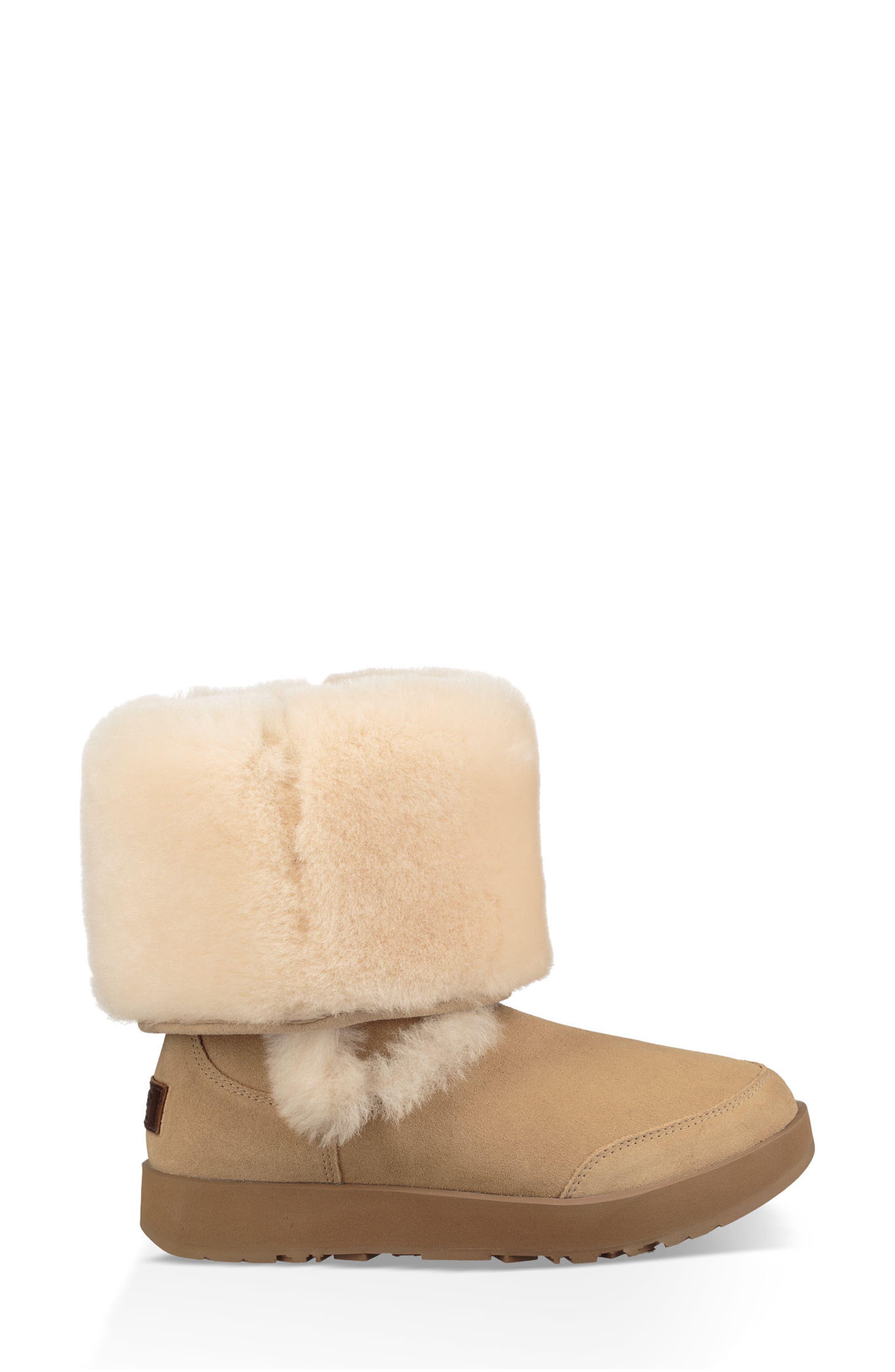 Sundance Genuine Shearling Waterproof Boot,                             Alternate thumbnail 6, color,                             Sand Suede