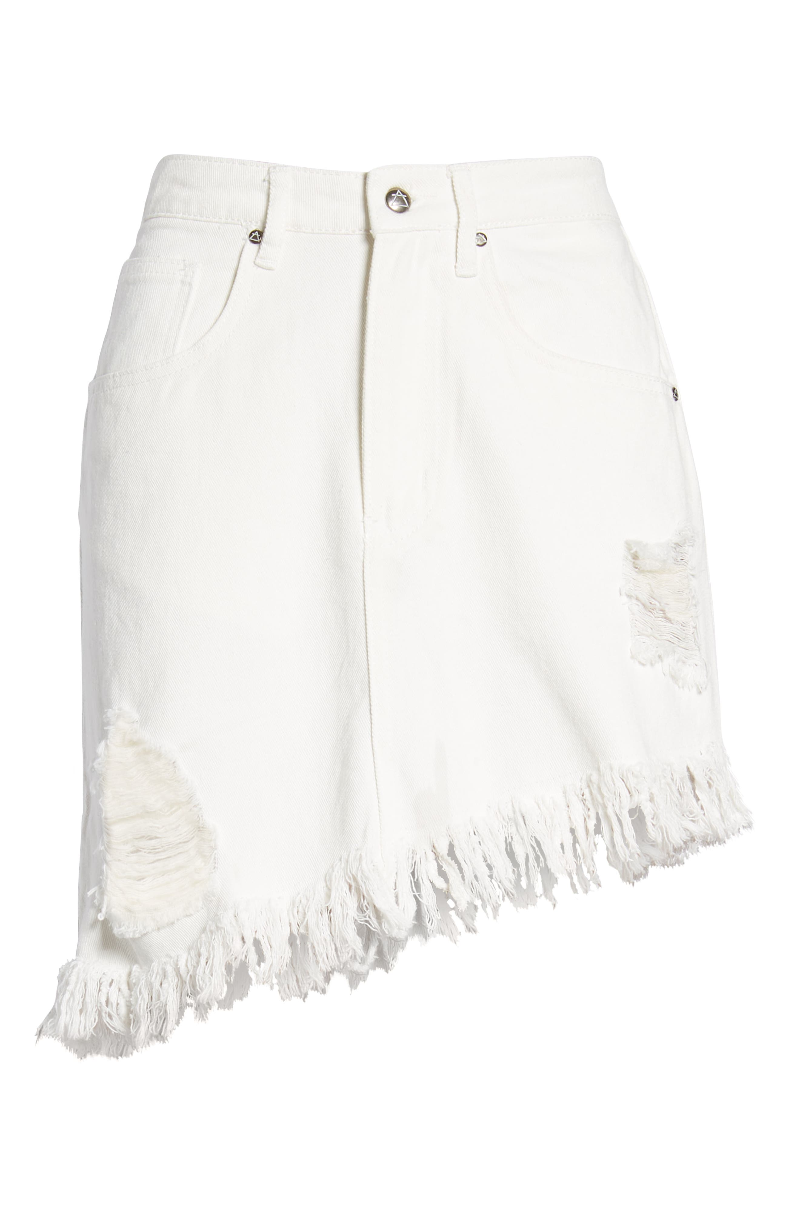Shimmering Bays Ripped Denim Skirt,                             Alternate thumbnail 7, color,                             White