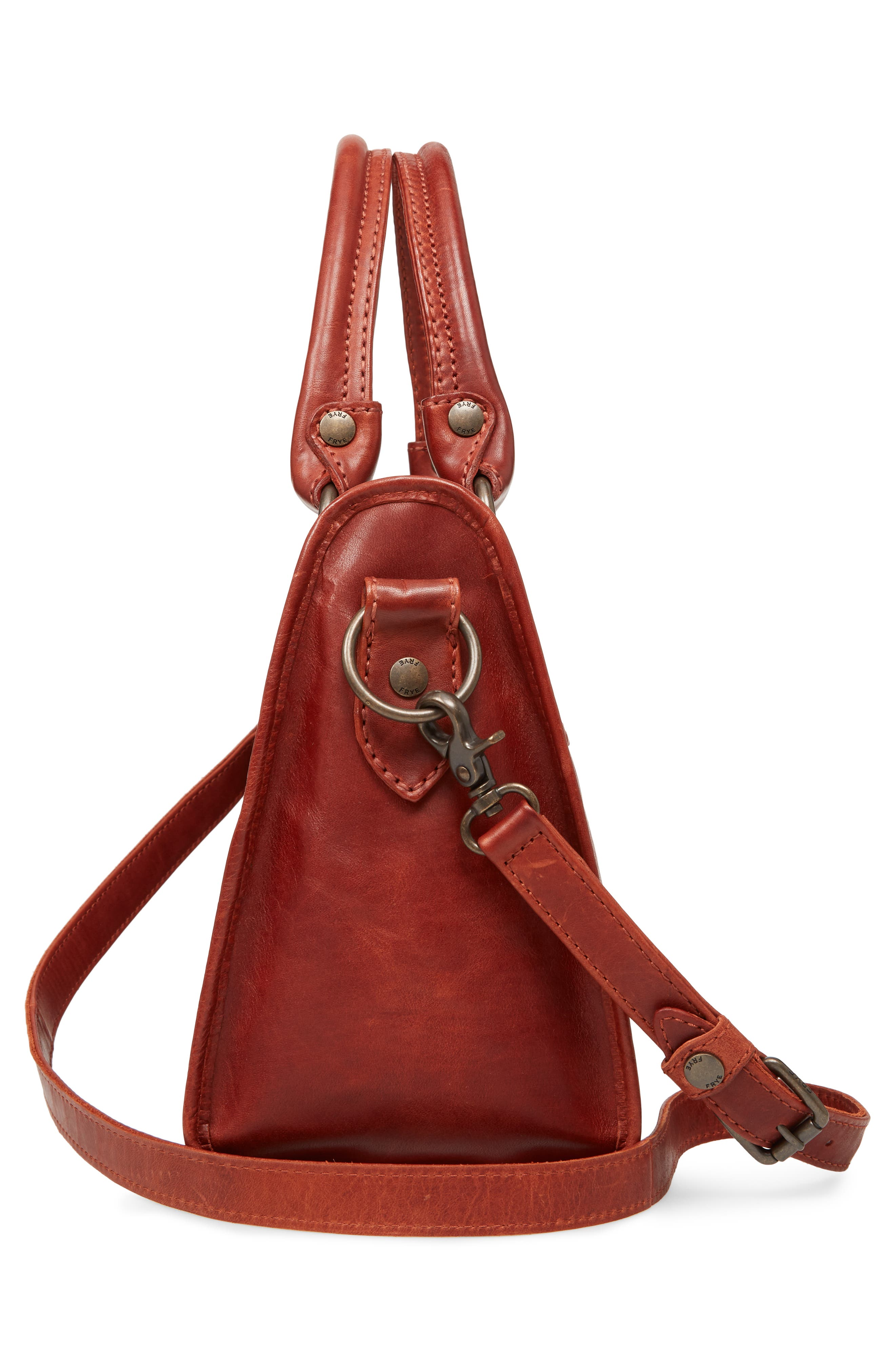 'Melissa' Washed Leather Satchel,                             Alternate thumbnail 5, color,                             Red Clay