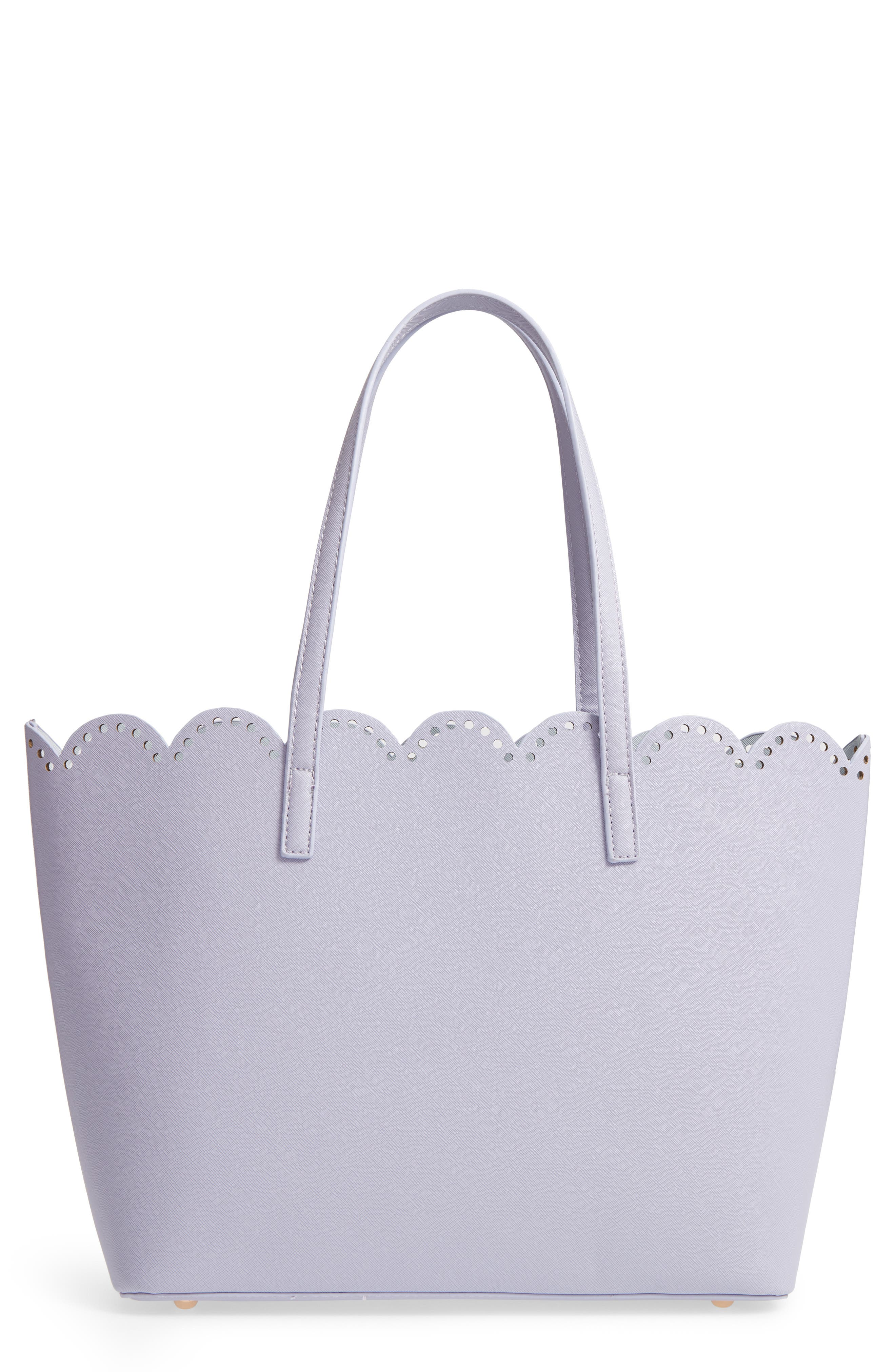 Scalloped Faux Leather Tote,                             Main thumbnail 1, color,                             Lilac
