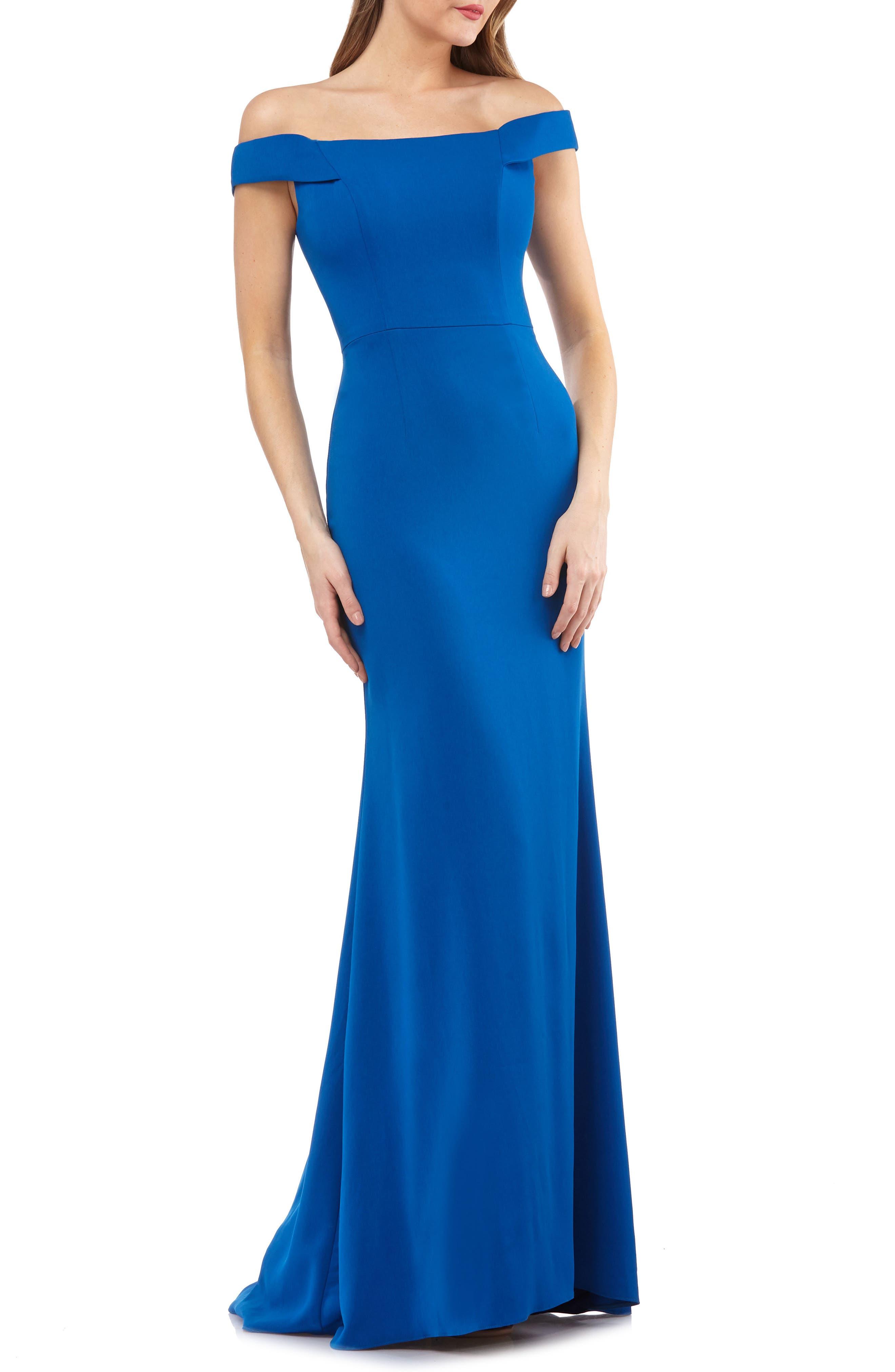 Carmen Marc Valvo Crepe Gown,                             Main thumbnail 1, color,                             Sapphire