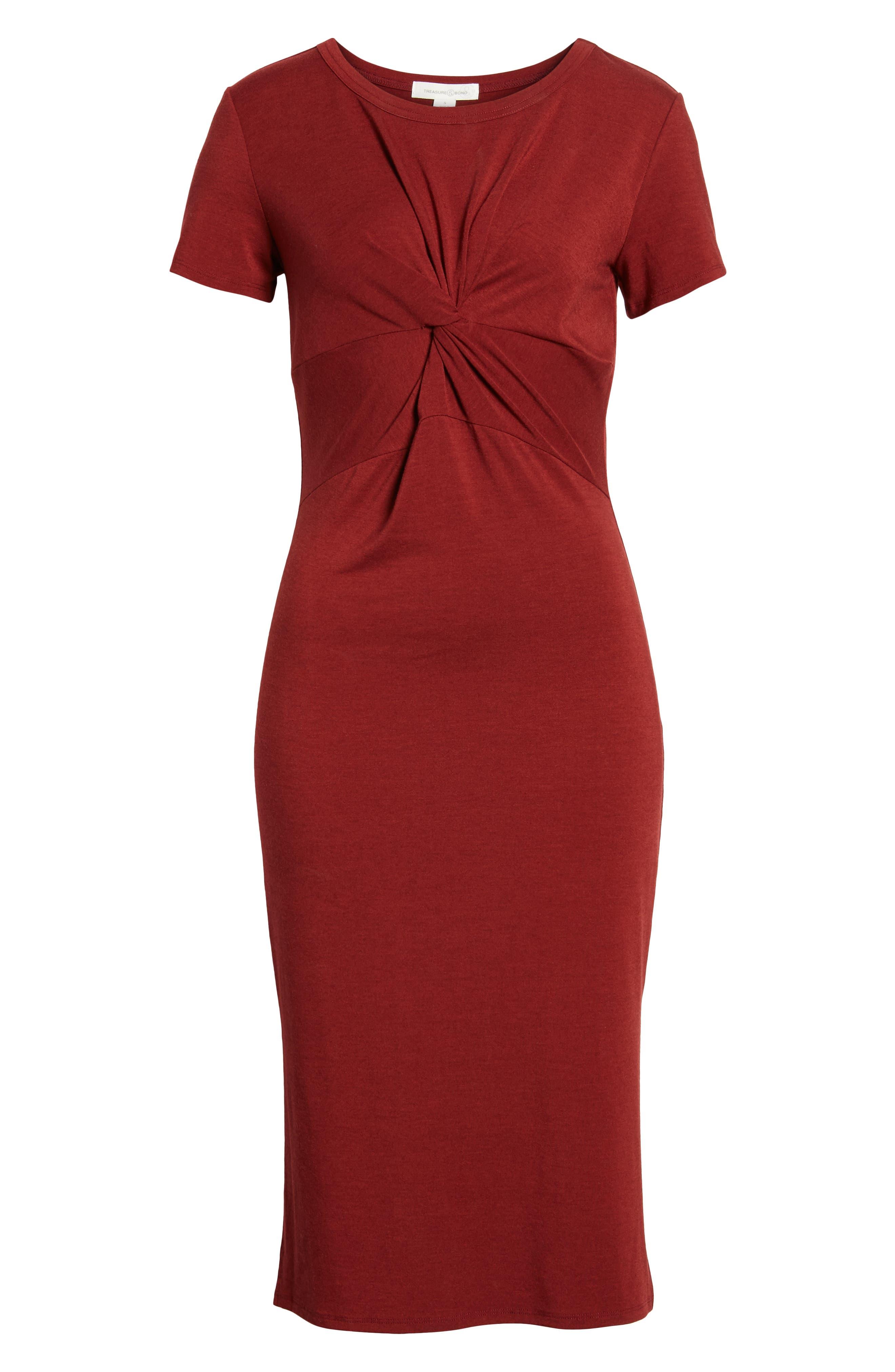 Twist Front Midi Dress,                             Alternate thumbnail 7, color,                             Red Syrah