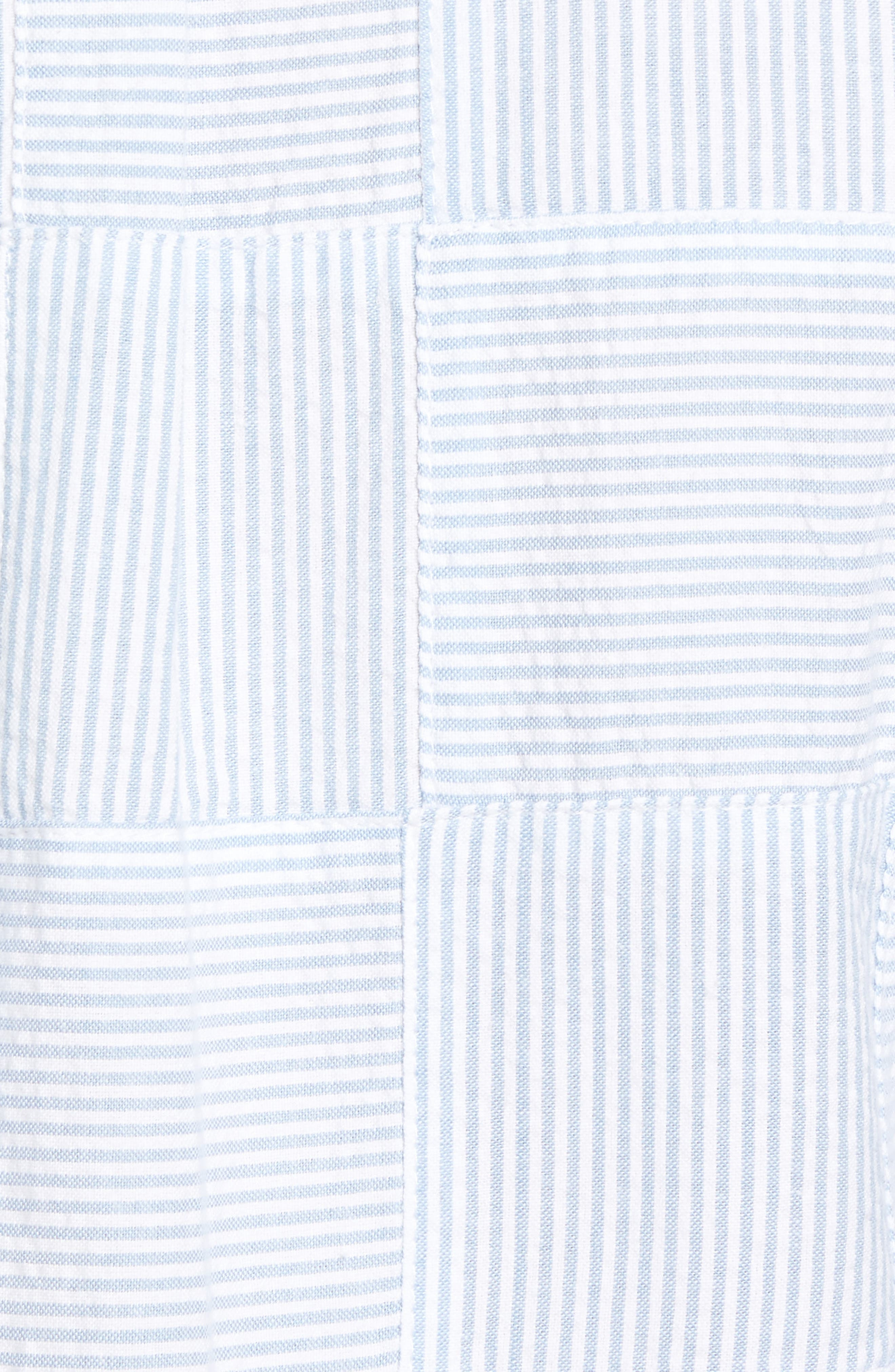 Stripe Patchwork Slim Fit Sport Shirt,                             Alternate thumbnail 5, color,                             Ocean Breeze