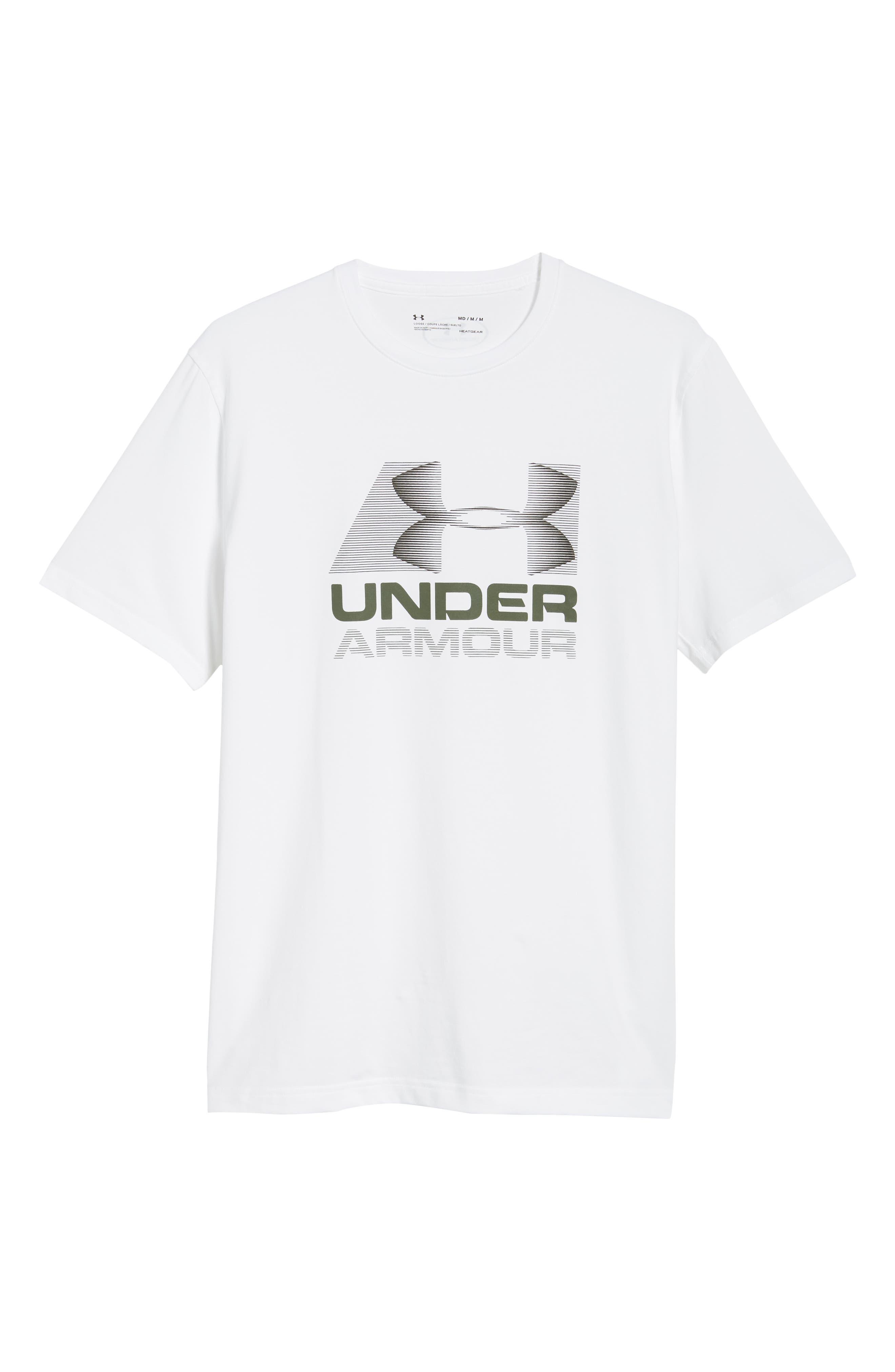 Trim Fit Vanish Logo T-Shirt,                             Alternate thumbnail 6, color,                             White/ Black/ Downtown Green