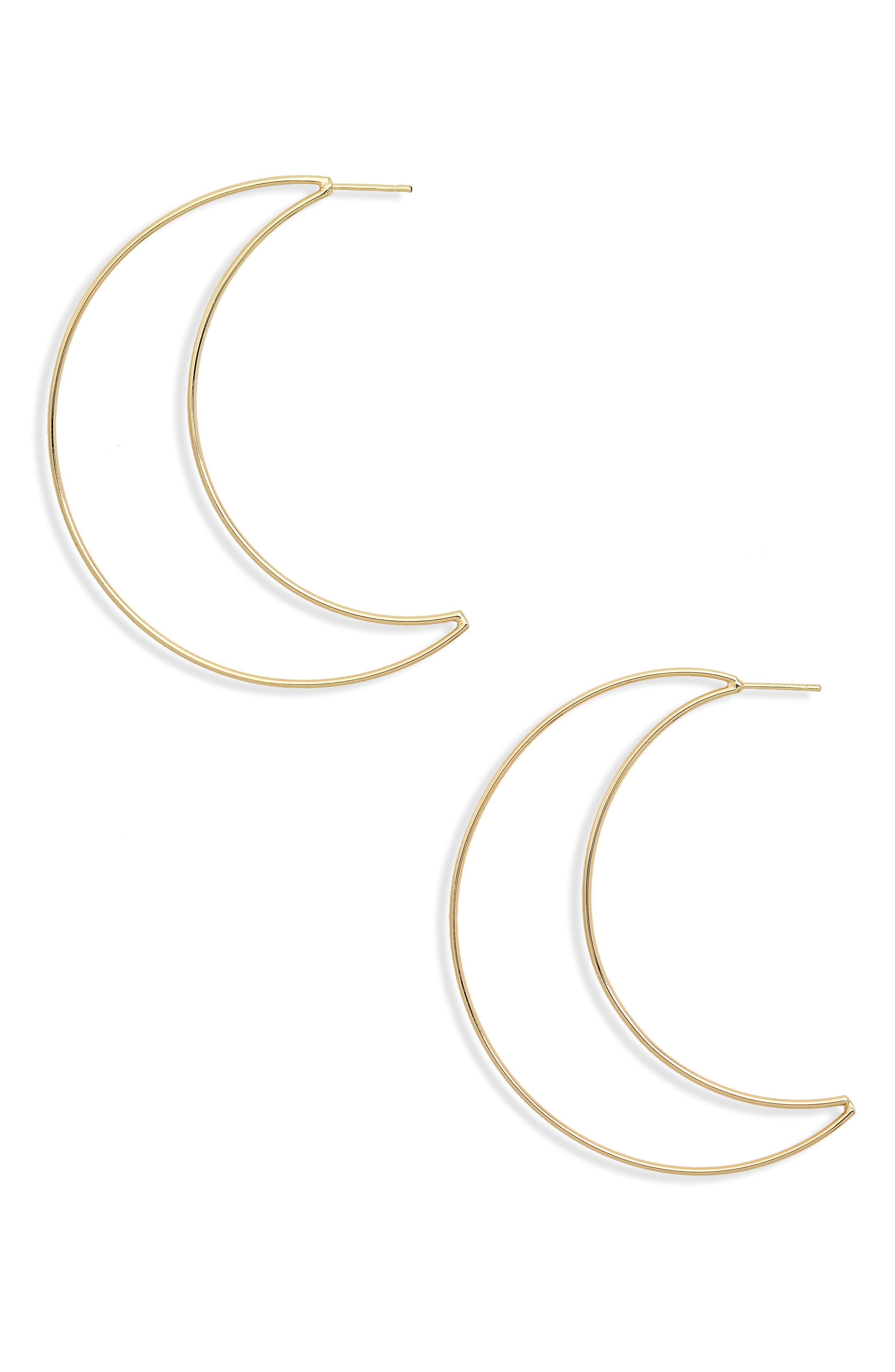 Crescent Hoop Earrings,                             Main thumbnail 1, color,                             Yellow Gold