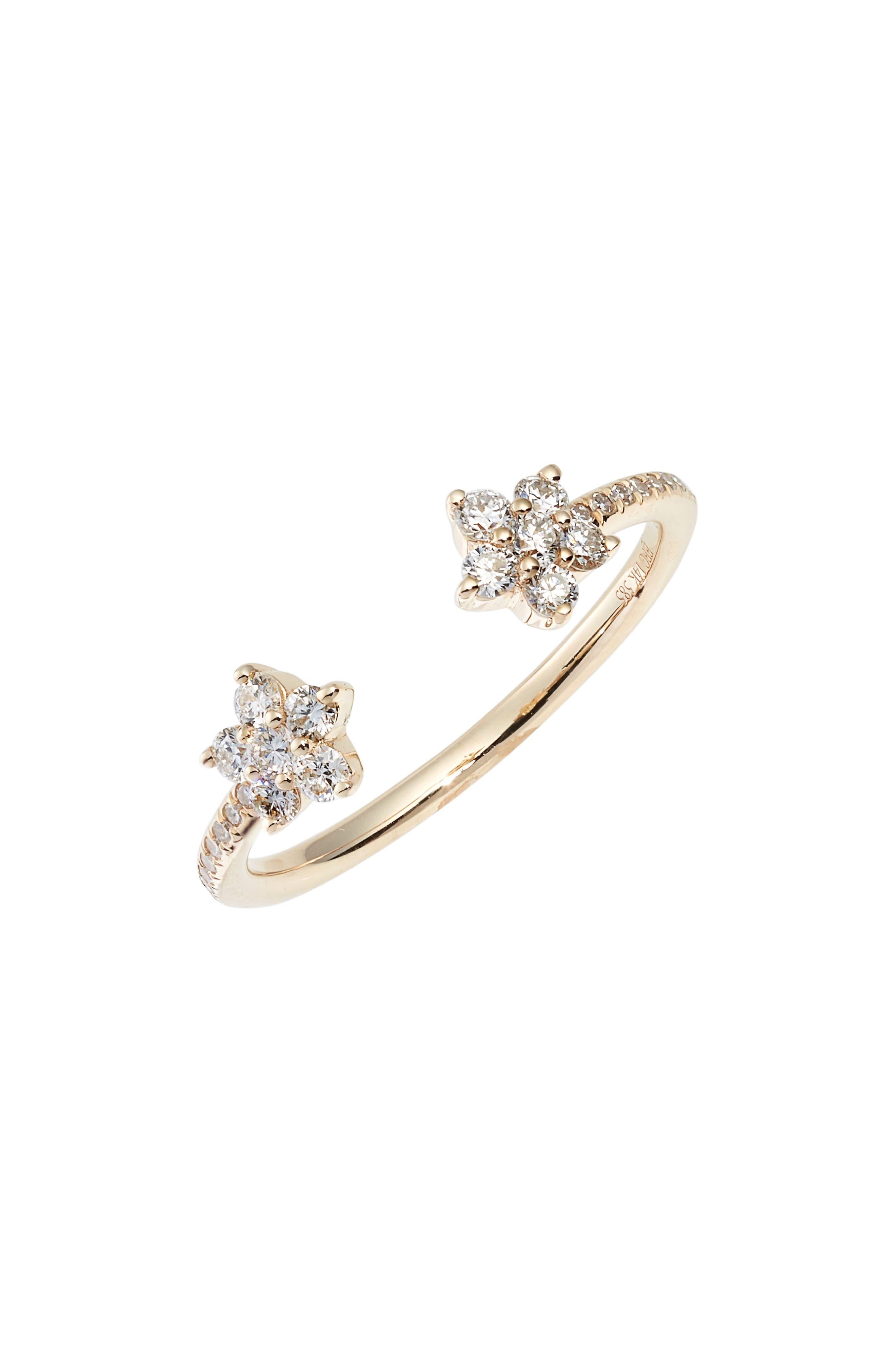 Open Diamond Flower Ring, Yellow Gold
