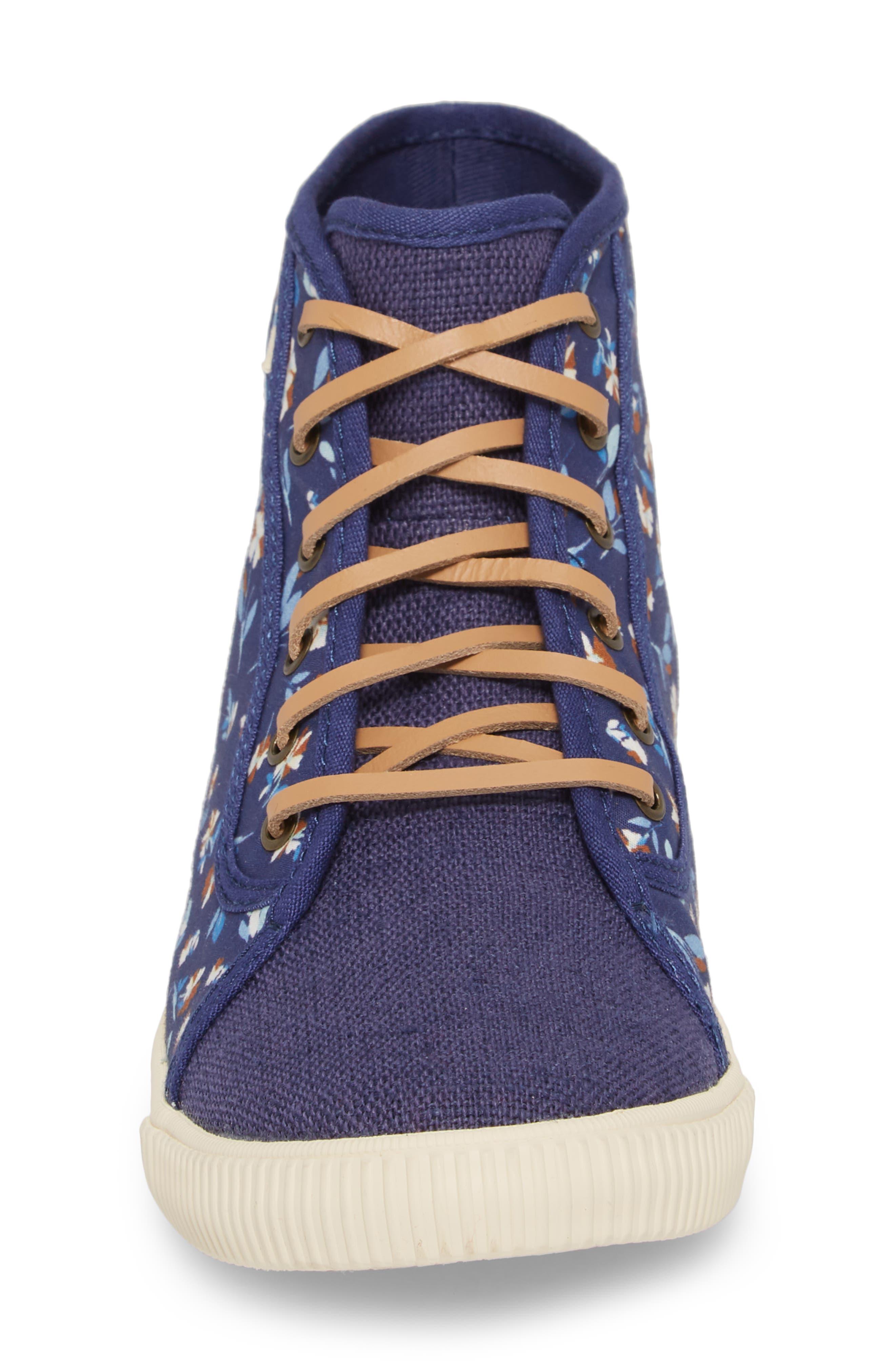 Camarillo High Top Sneaker,                             Alternate thumbnail 4, color,                             Deep Blue Vintage Flower