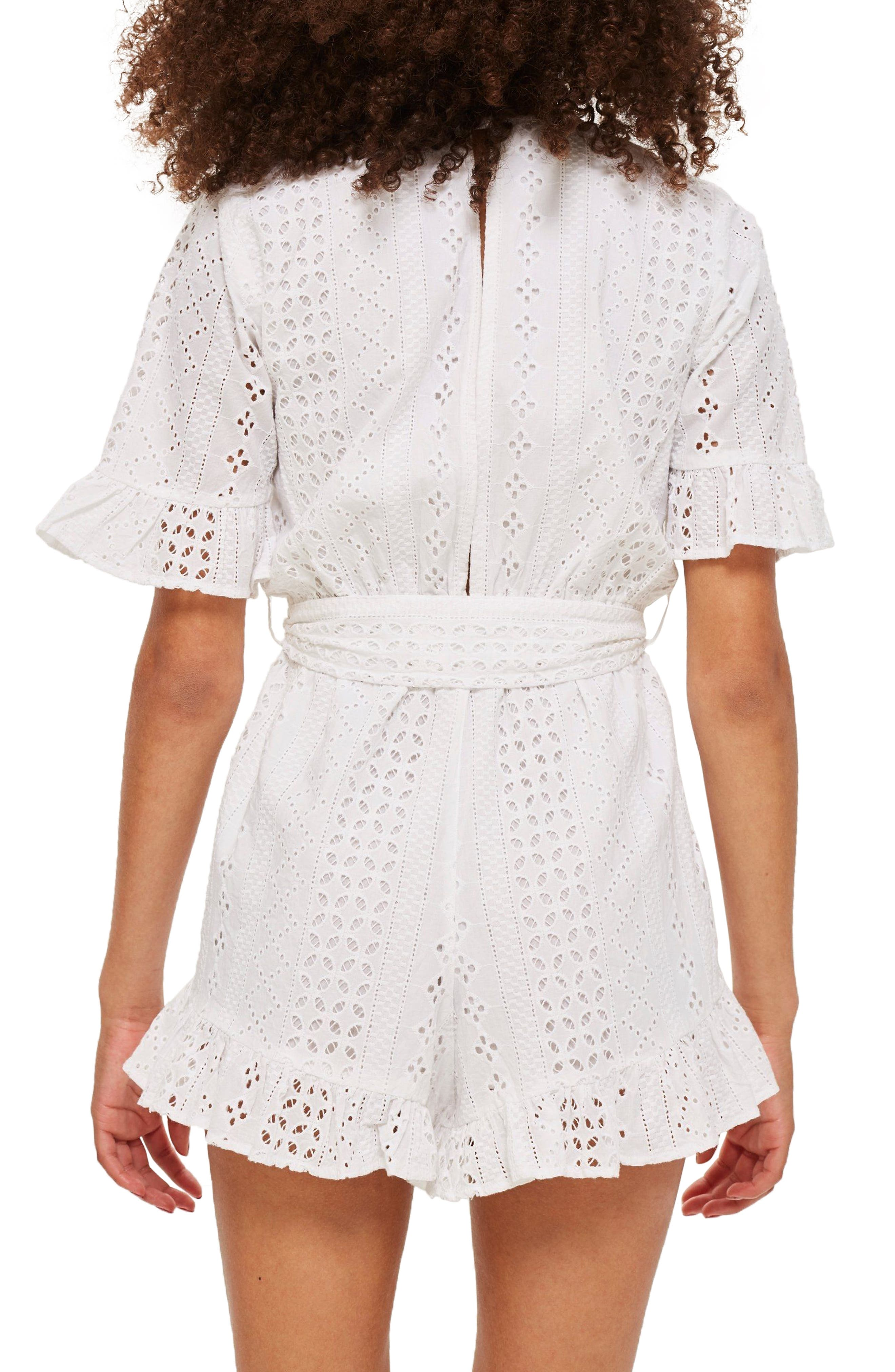Broderie Anglaise Wrap Front Romper,                             Alternate thumbnail 2, color,                             White