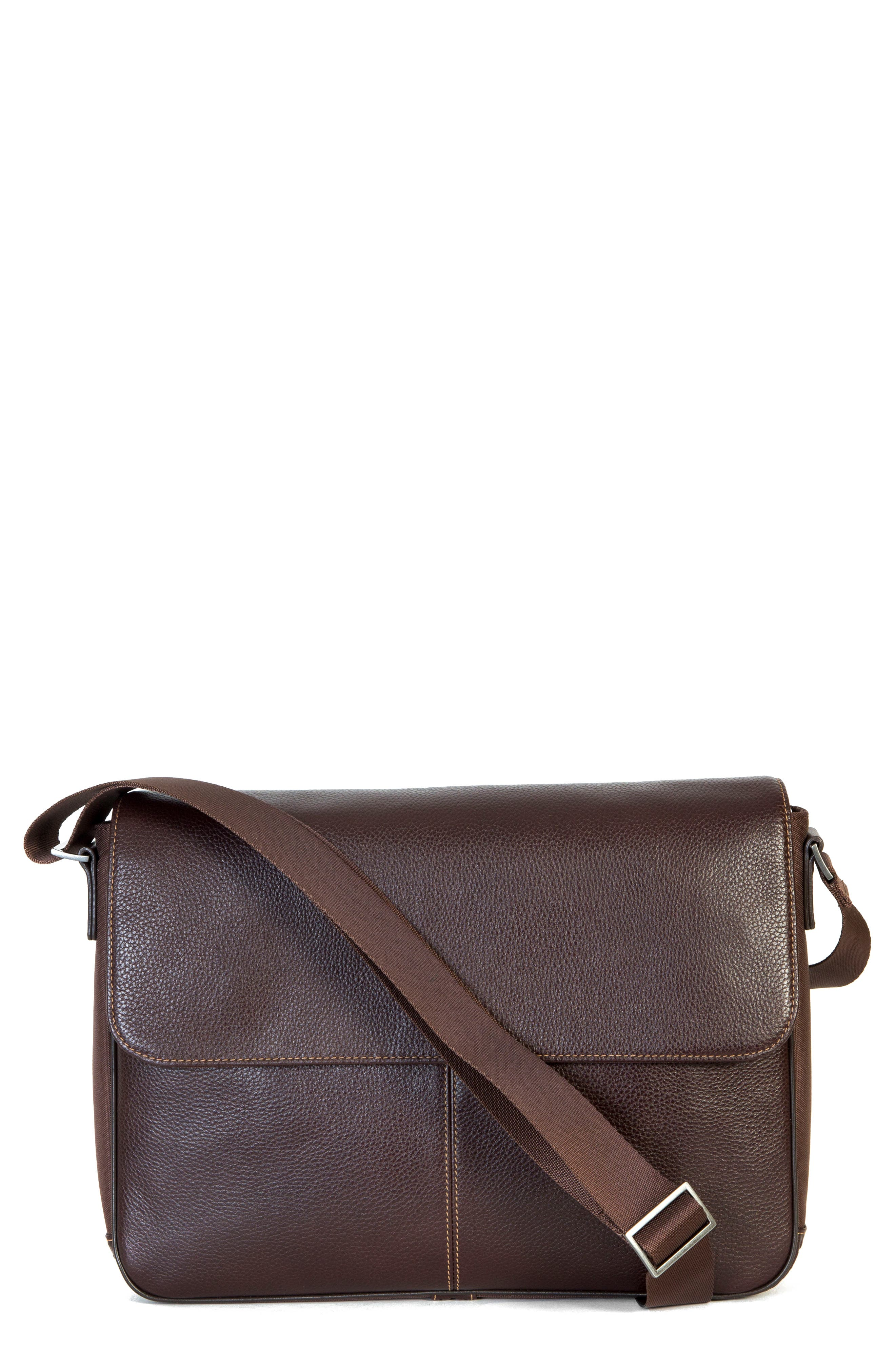 Tyler Leather Messenger Bag,                             Main thumbnail 1, color,                             Coffee