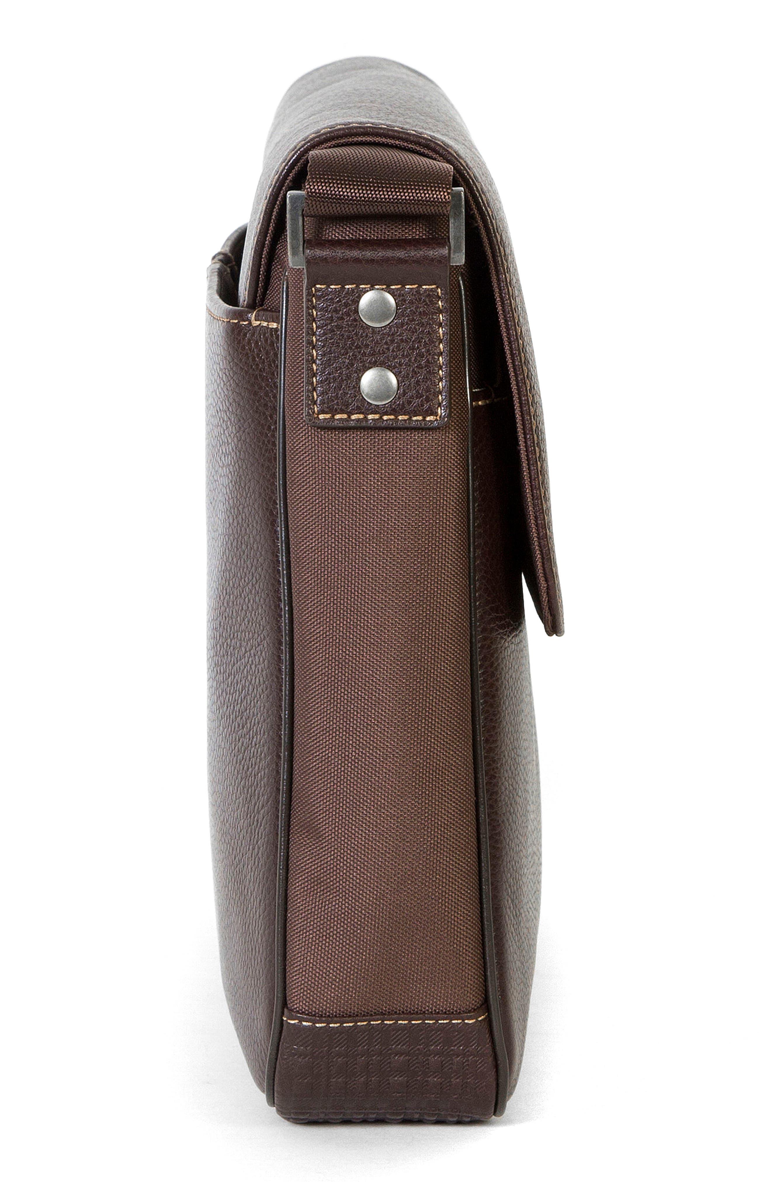 Tyler Leather Messenger Bag,                             Alternate thumbnail 5, color,                             Coffee