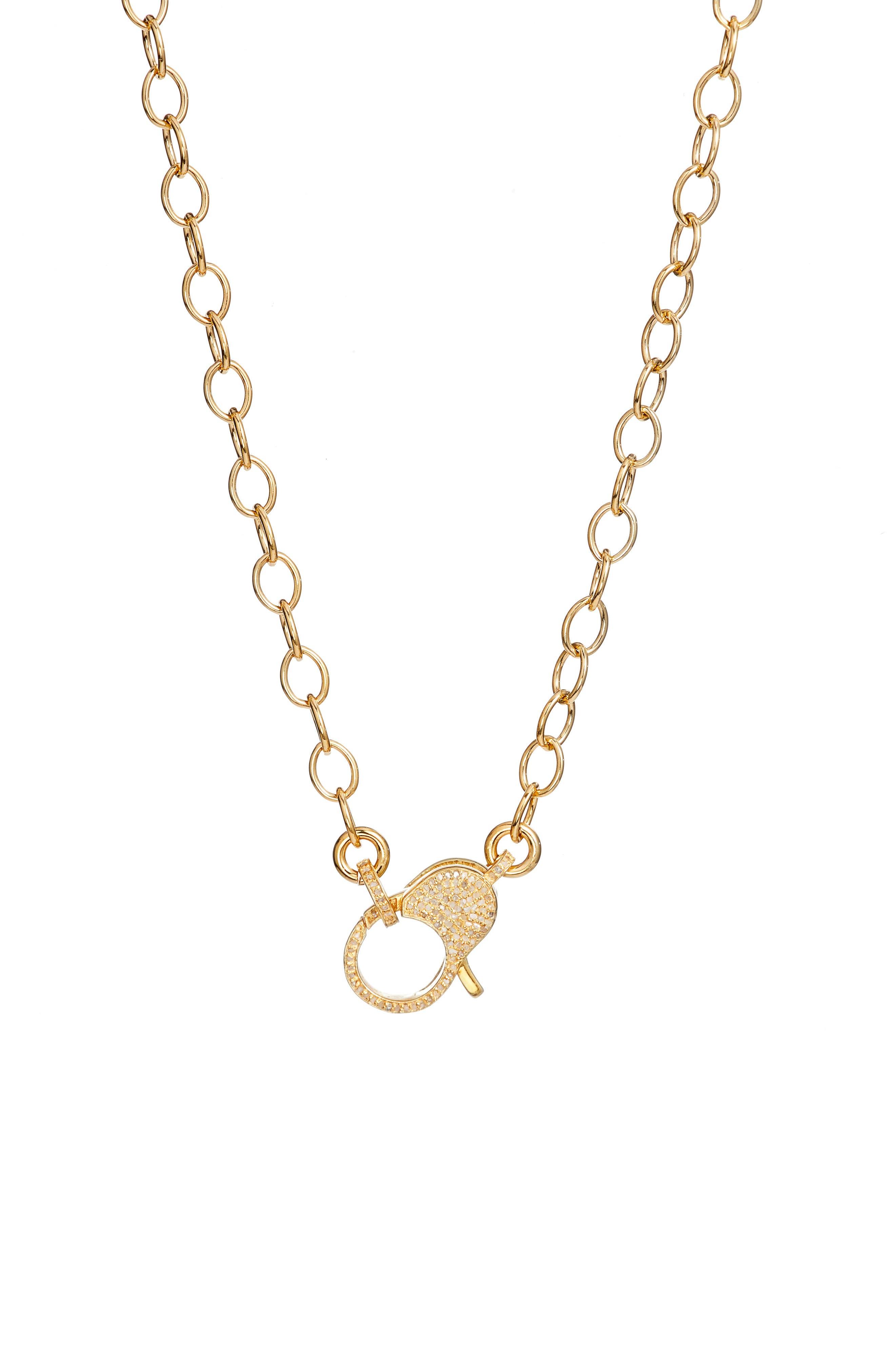 Jane Basch Pavé Lock Chain Necklace,                             Main thumbnail 1, color,                             Gold