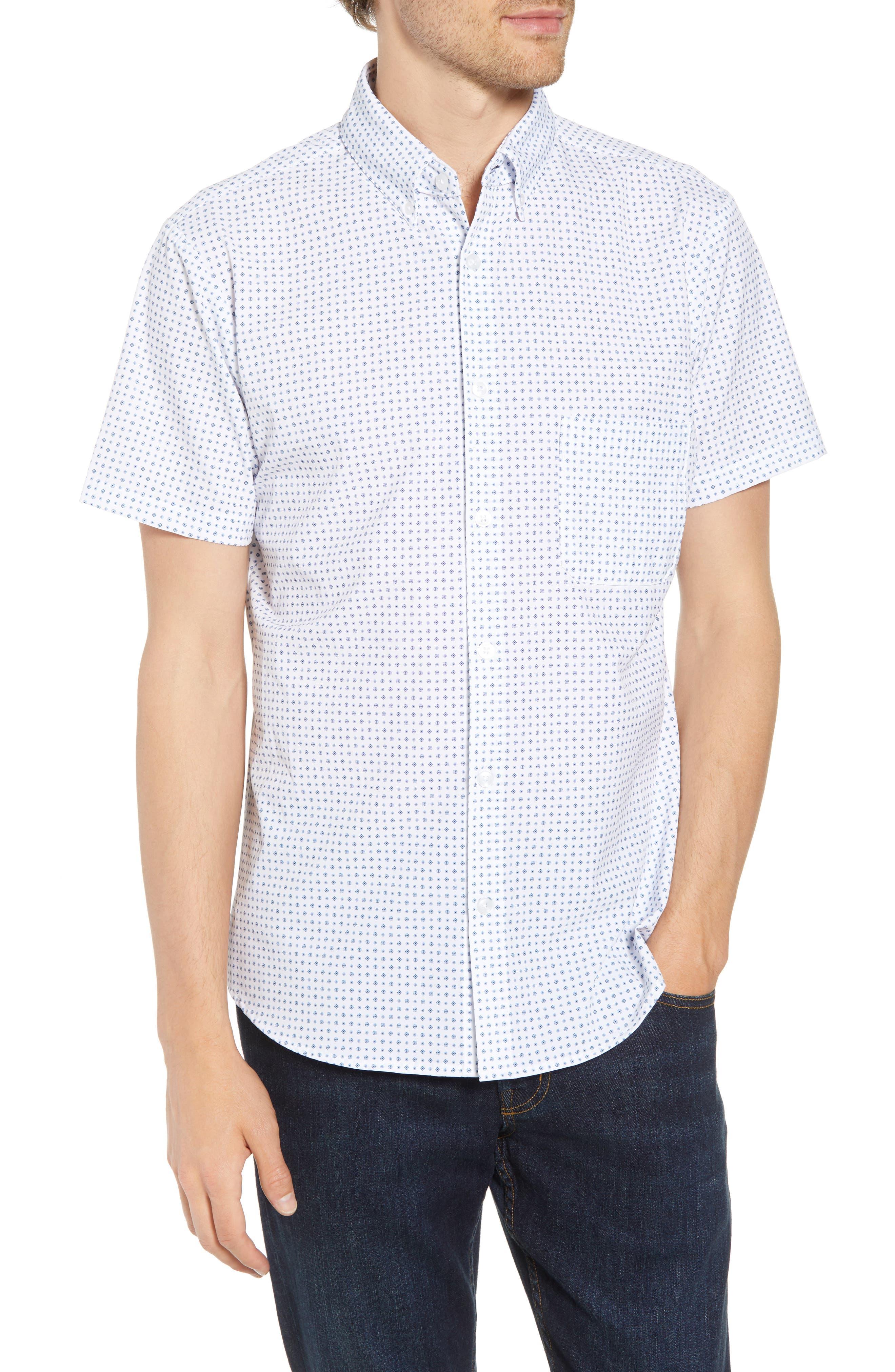 Darst Slim Fit Performance Sport Shirt,                             Main thumbnail 1, color,                             White