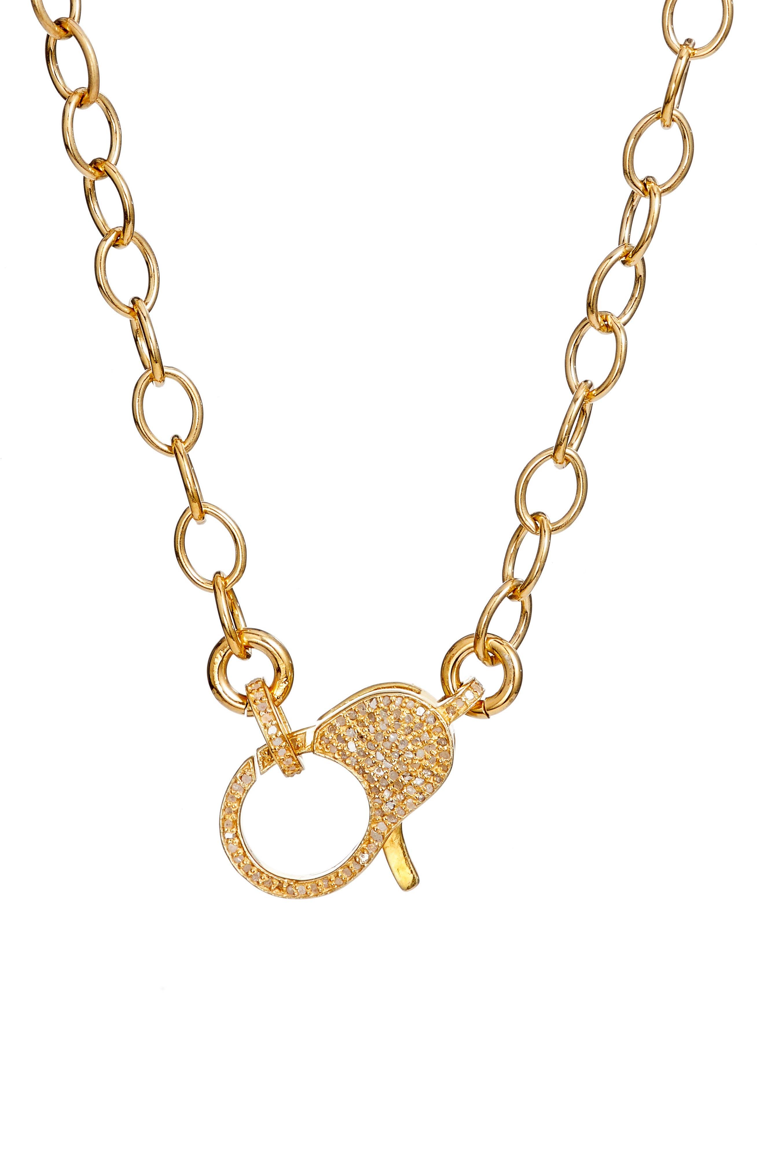 Jane Basch Pavé Diamond Clasp Long Chain Necklace,                             Main thumbnail 1, color,                             Gold