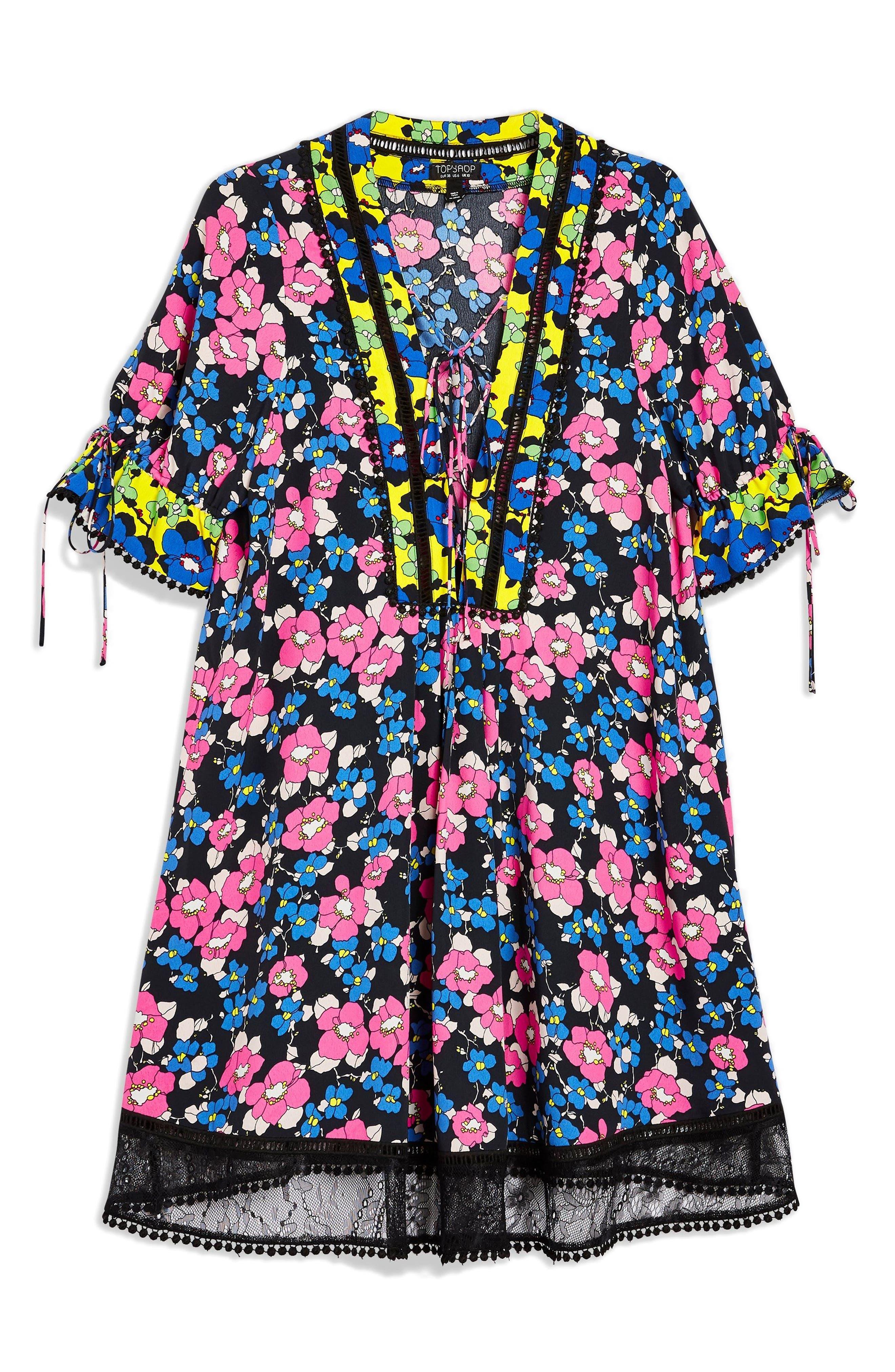 Floral Print Minidress,                             Alternate thumbnail 3, color,                             Blue Multi