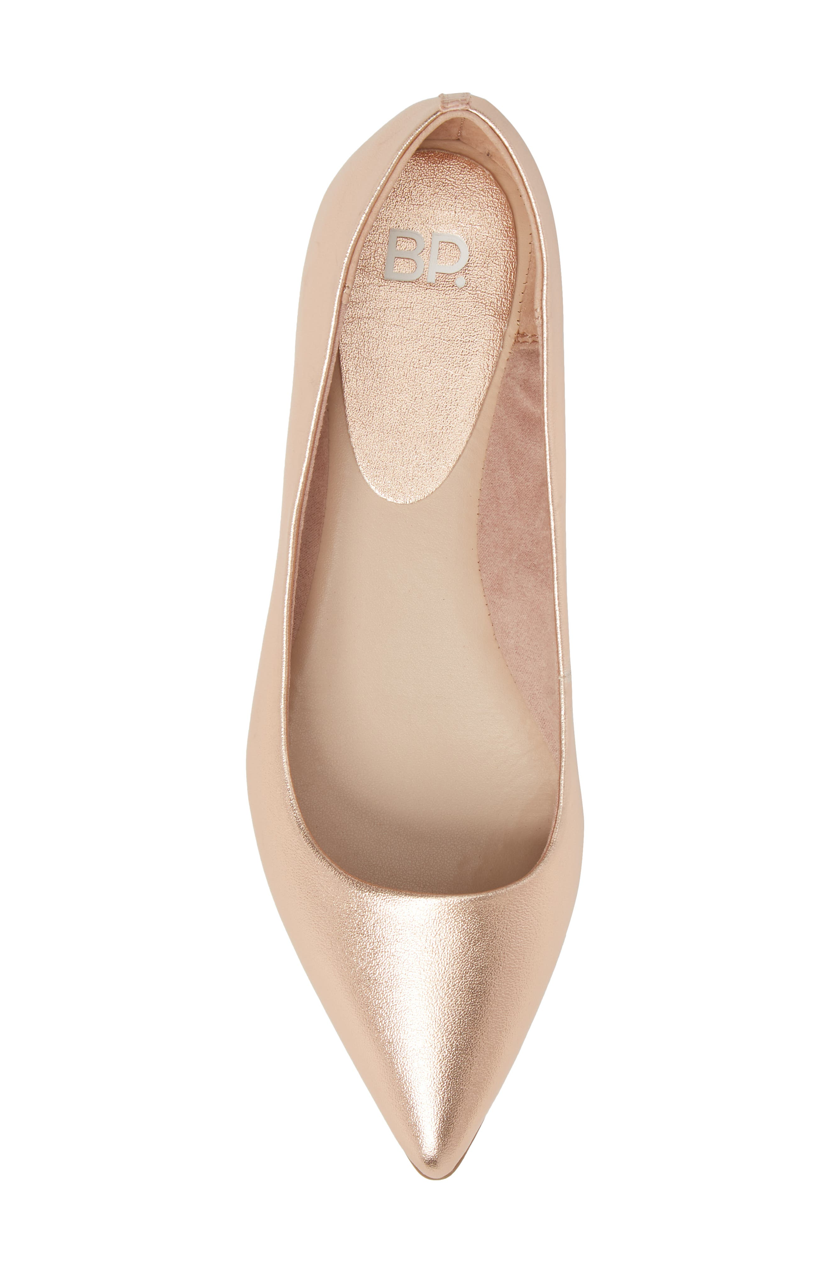 Sasha Flat,                             Alternate thumbnail 5, color,                             Rose Gold Faux Leather