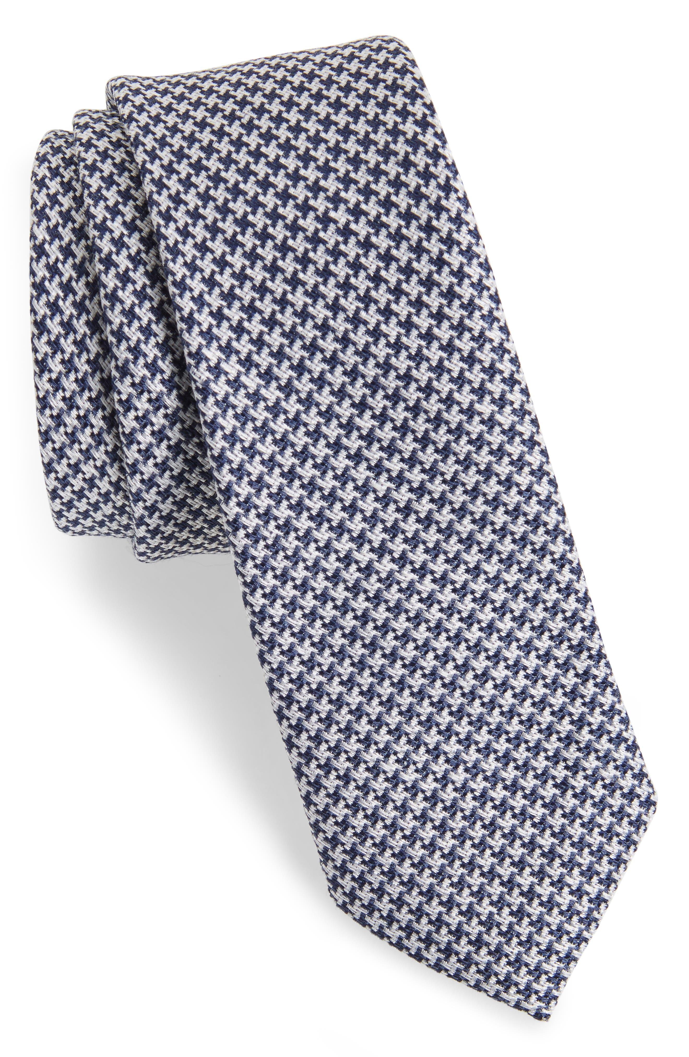 Wyden Linen & Silk Tie,                         Main,                         color, Navy