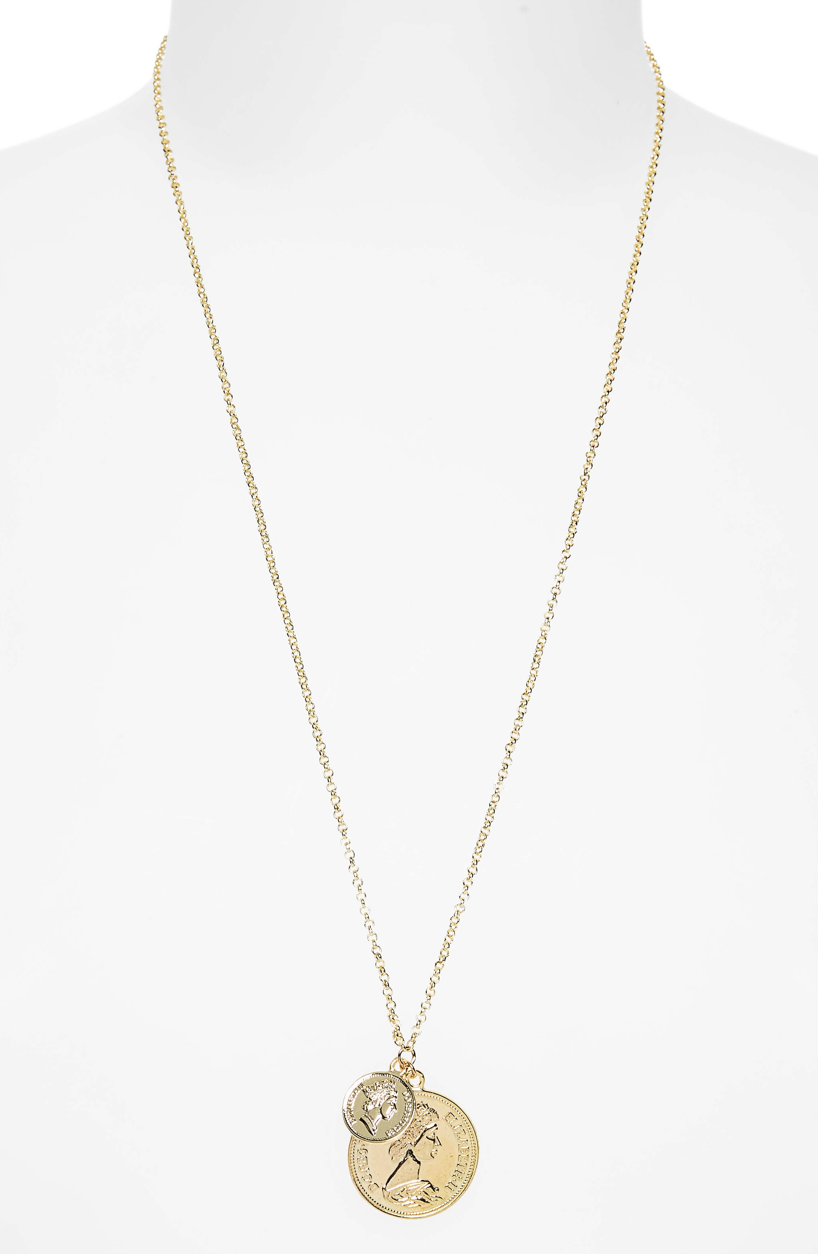 Double Coin Pendant Necklace,                             Alternate thumbnail 2, color,                             Yellow Gold