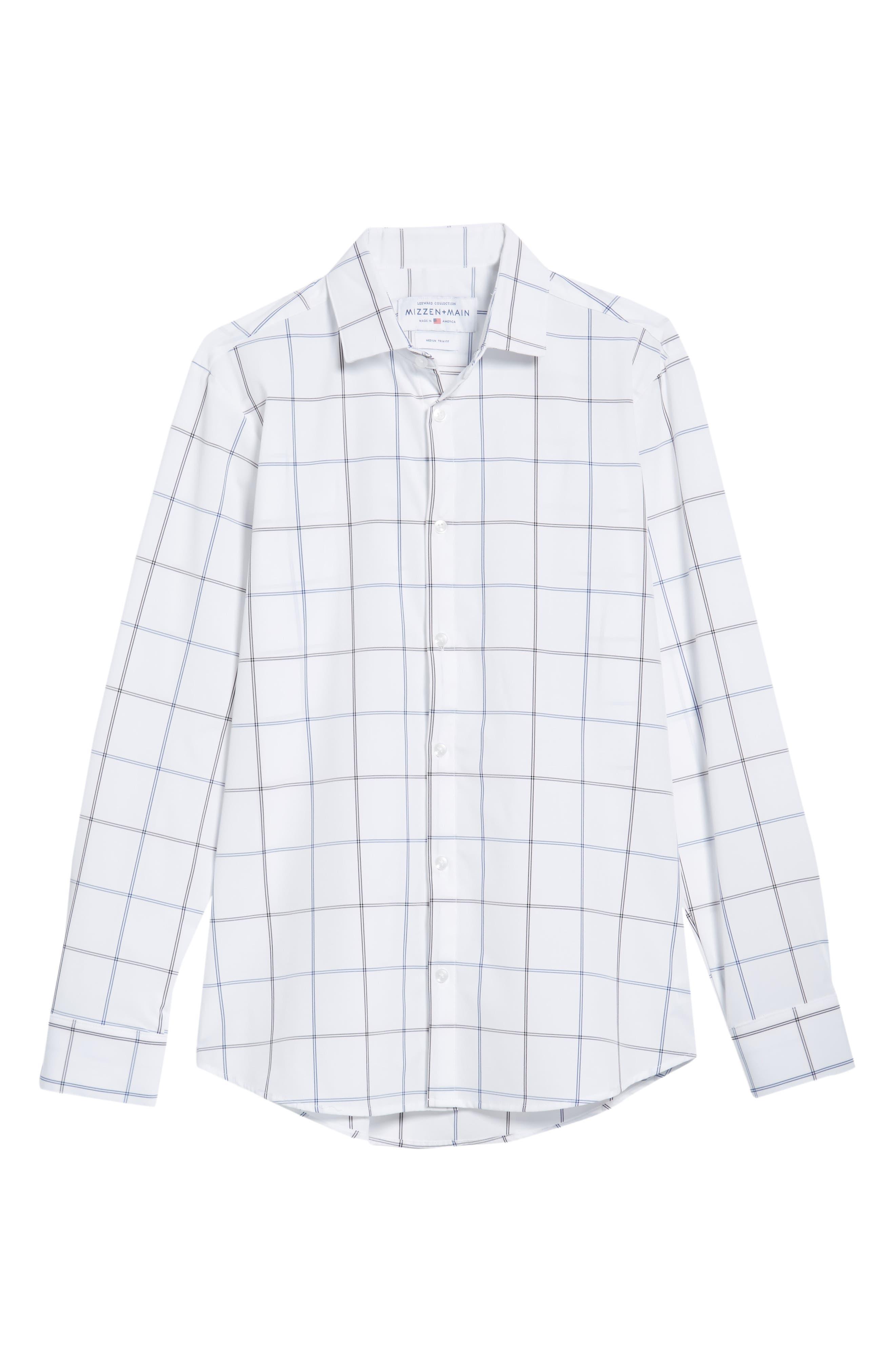 Crossman Slim Fit Grid Performance Sport Shirt,                             Alternate thumbnail 6, color,                             White