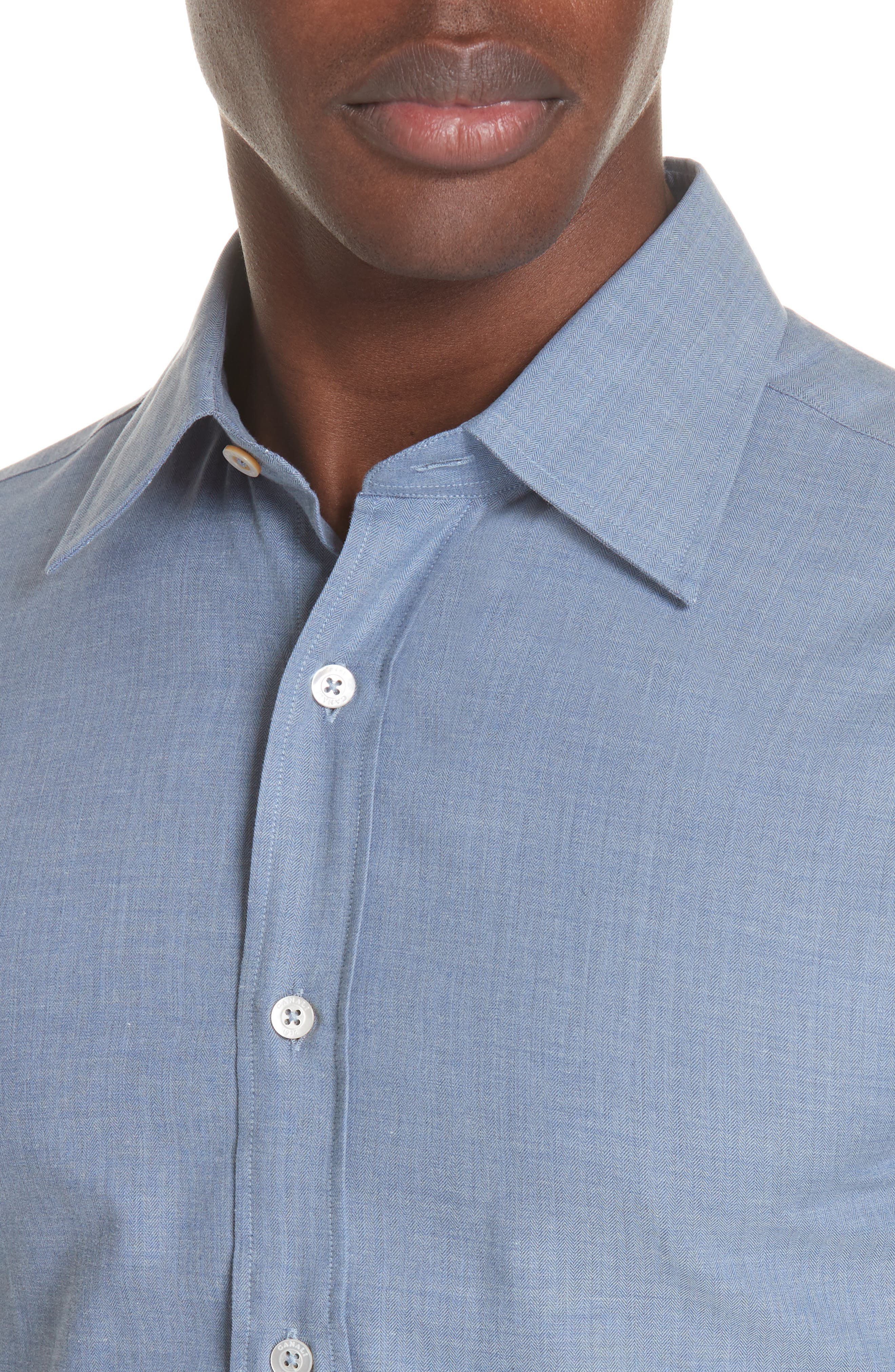 Classic Fit Herringbone Dress Shirt,                             Alternate thumbnail 2, color,                             Light Blue
