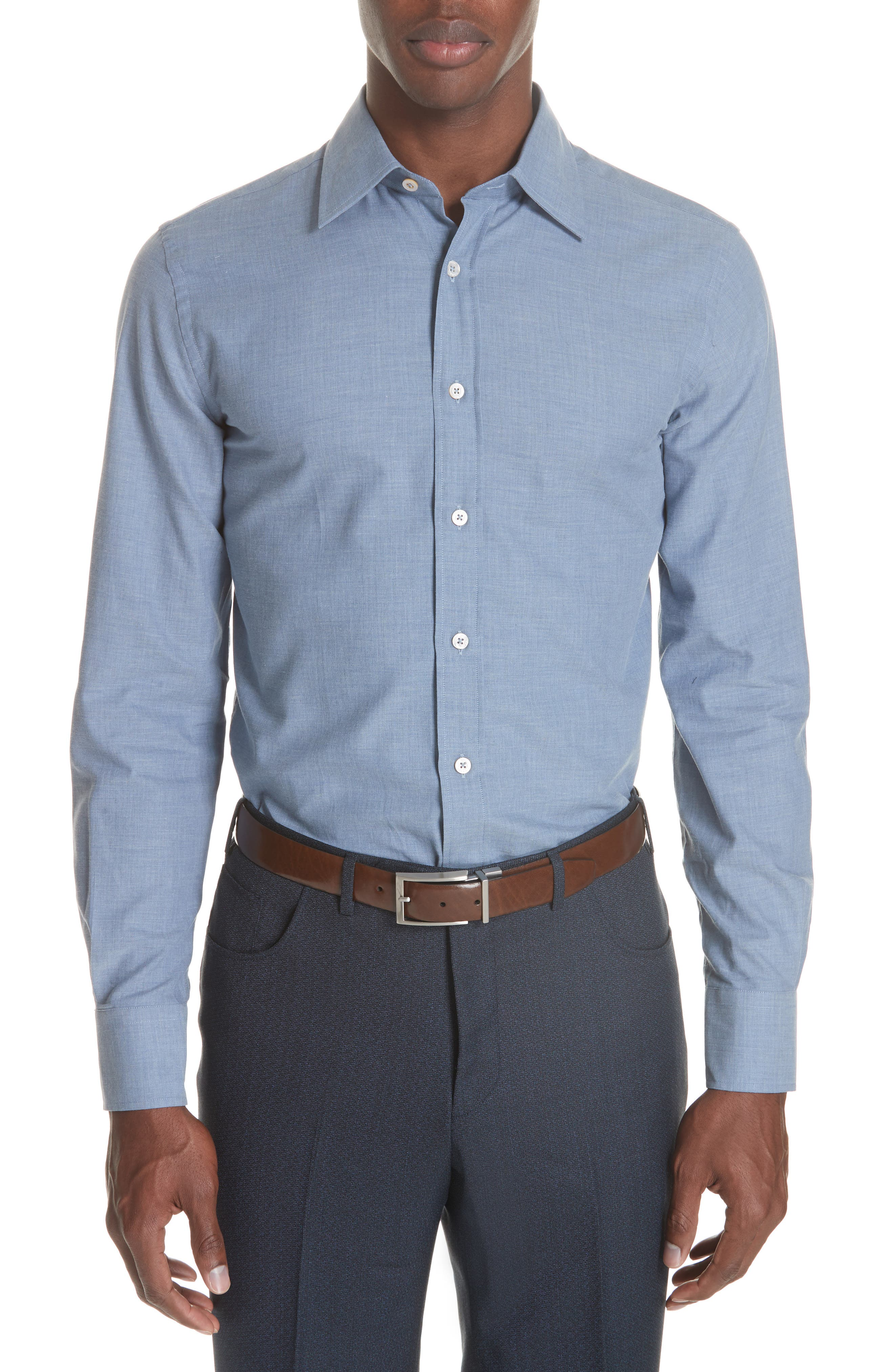 Classic Fit Herringbone Dress Shirt,                             Main thumbnail 1, color,                             Light Blue