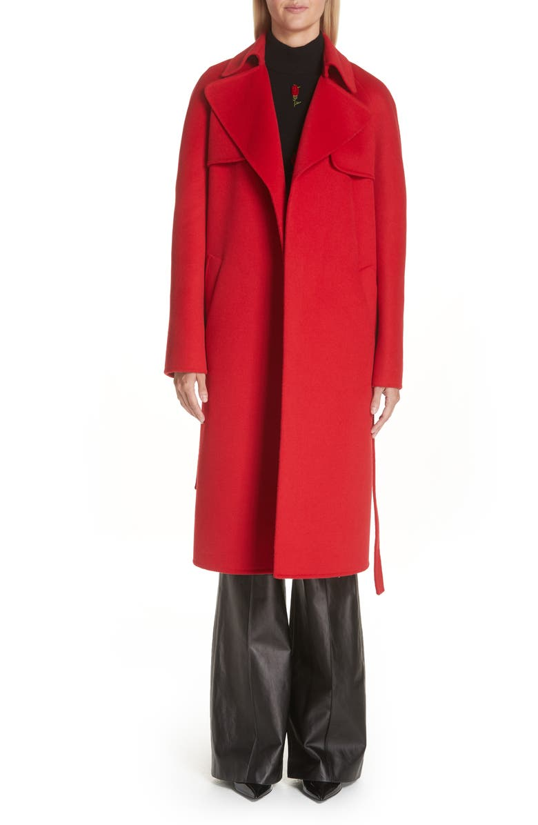 Wool  Angora Blend Belted Coat