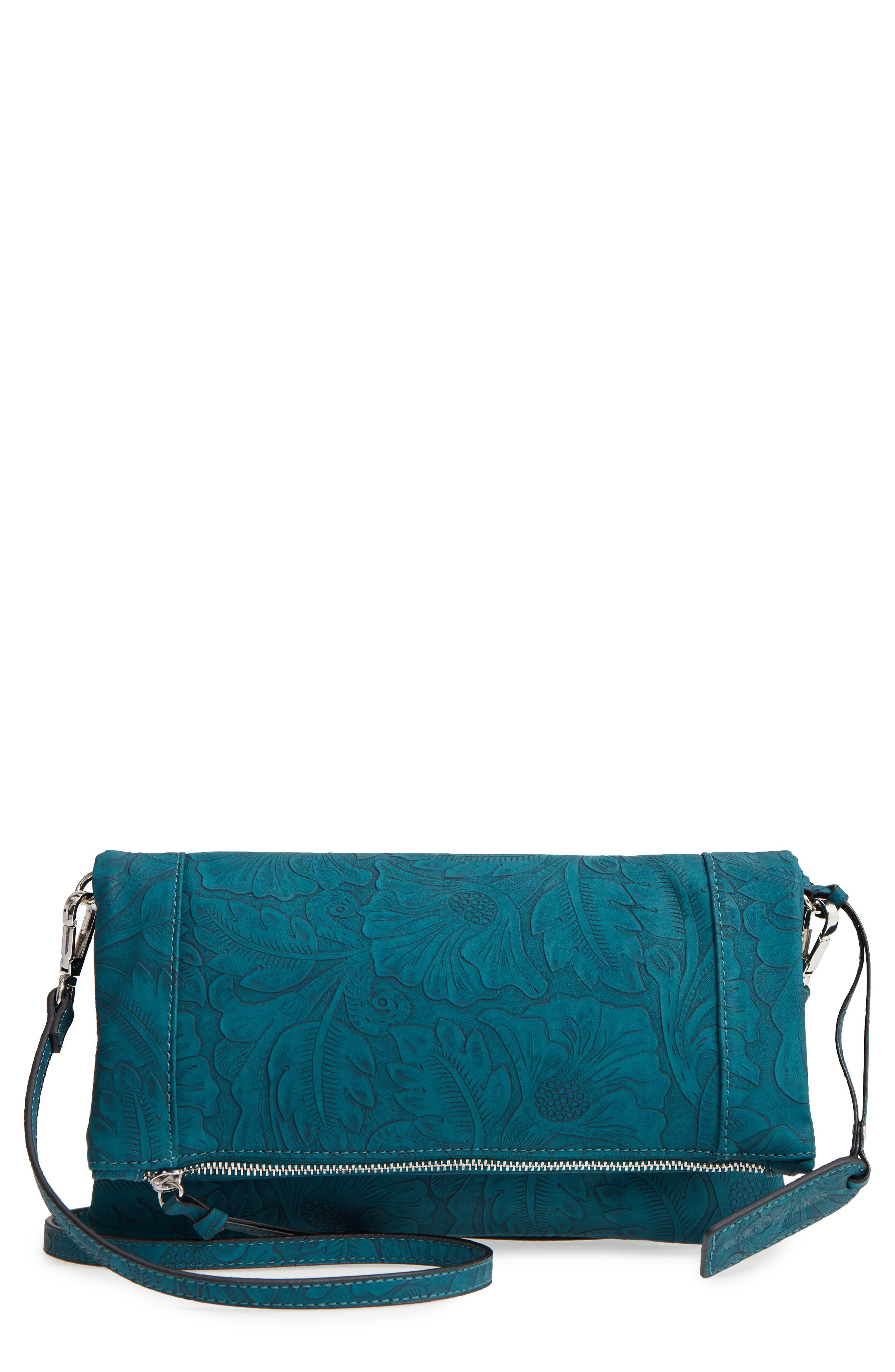 Tooled Faux Leather Foldover Clutch,                         Main,                         color, Teal